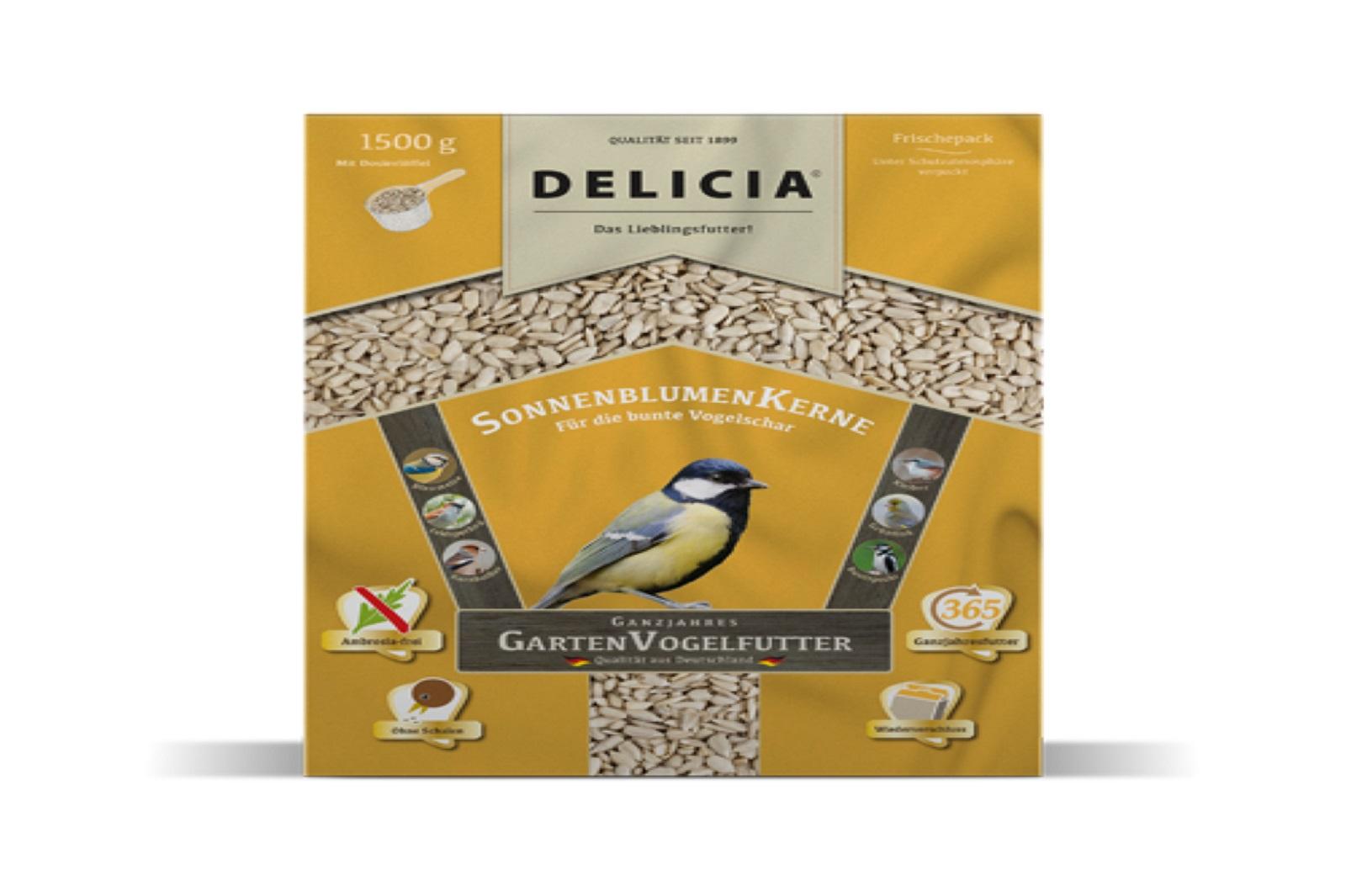 Delicia 1,5  kg Vogelfutter Sonnenblumenkerne Gartenvögel  Ganzjahresfutter