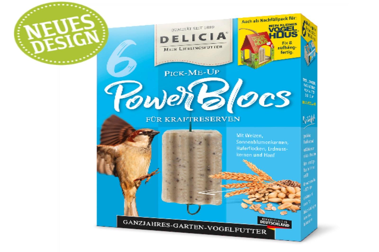 Delicia Power Bloc Pick-me-up mit Aufhänger Vogelfutter ganzjahres Futter 6 Stck