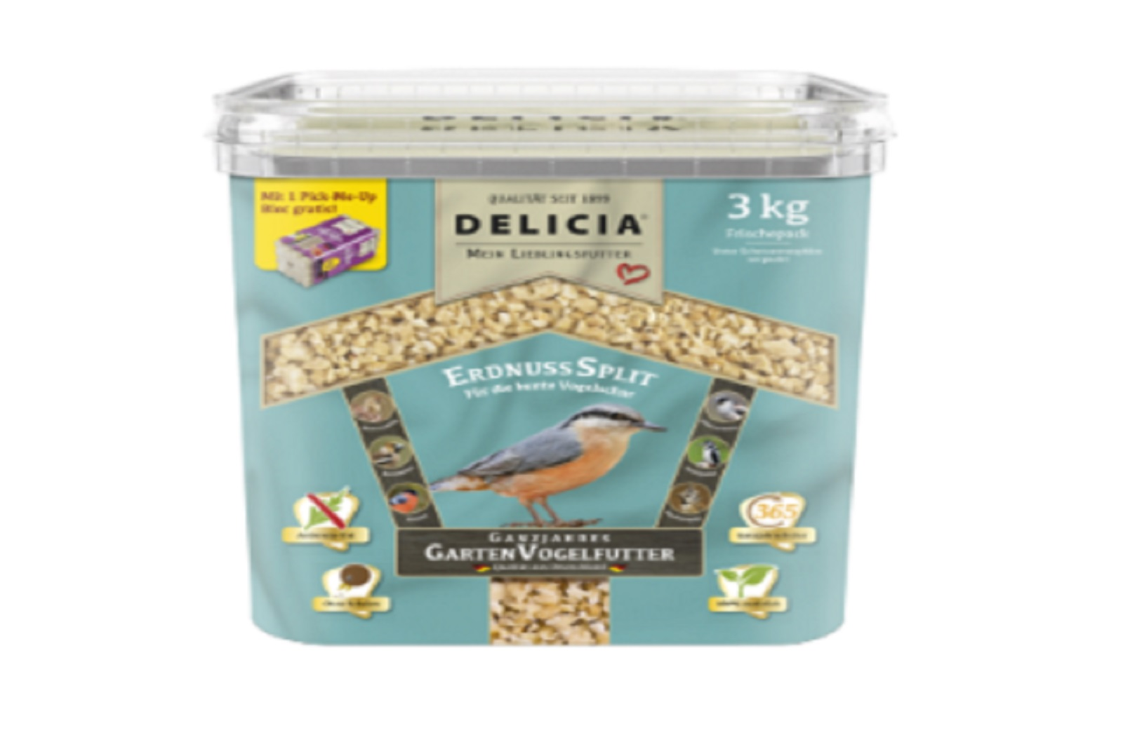 Delicia Erdnusssplitt Vogelfutter Gartenvögel  Ganzjahresfutter 3 kg