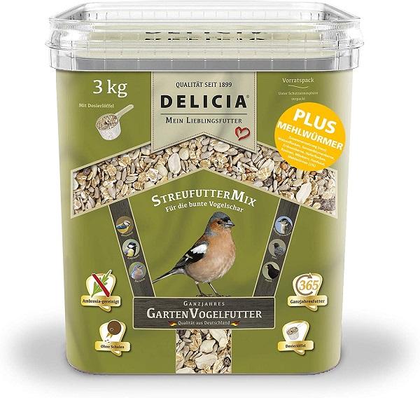 Delicia 3 kg Streufuttermix Gartenvögel Vogelfutter Ganzjahresfutter
