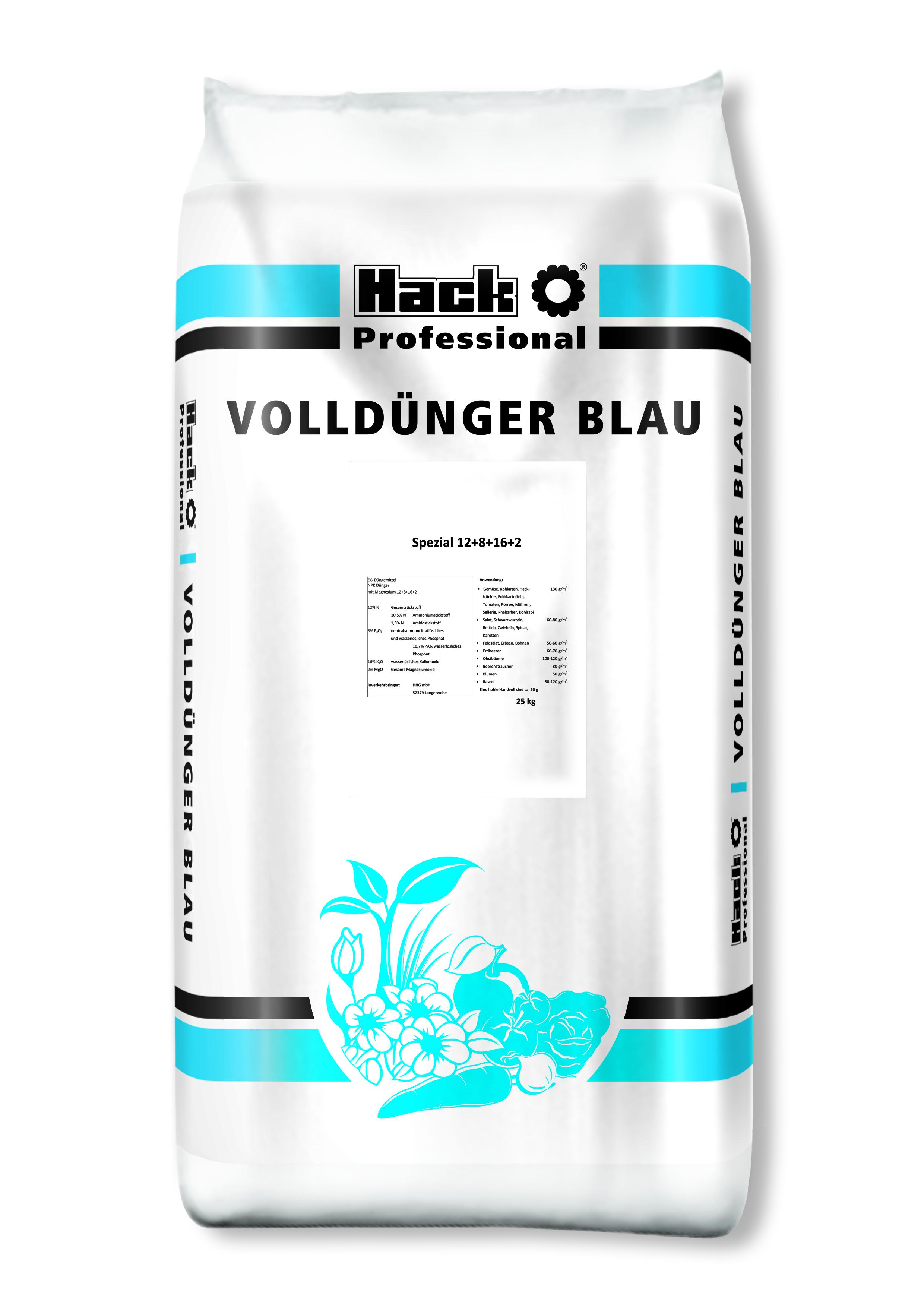 Hack Profi Volldünger Blau  Spezial Blau-Dünger NPK 12+8+16 +2   25 kg