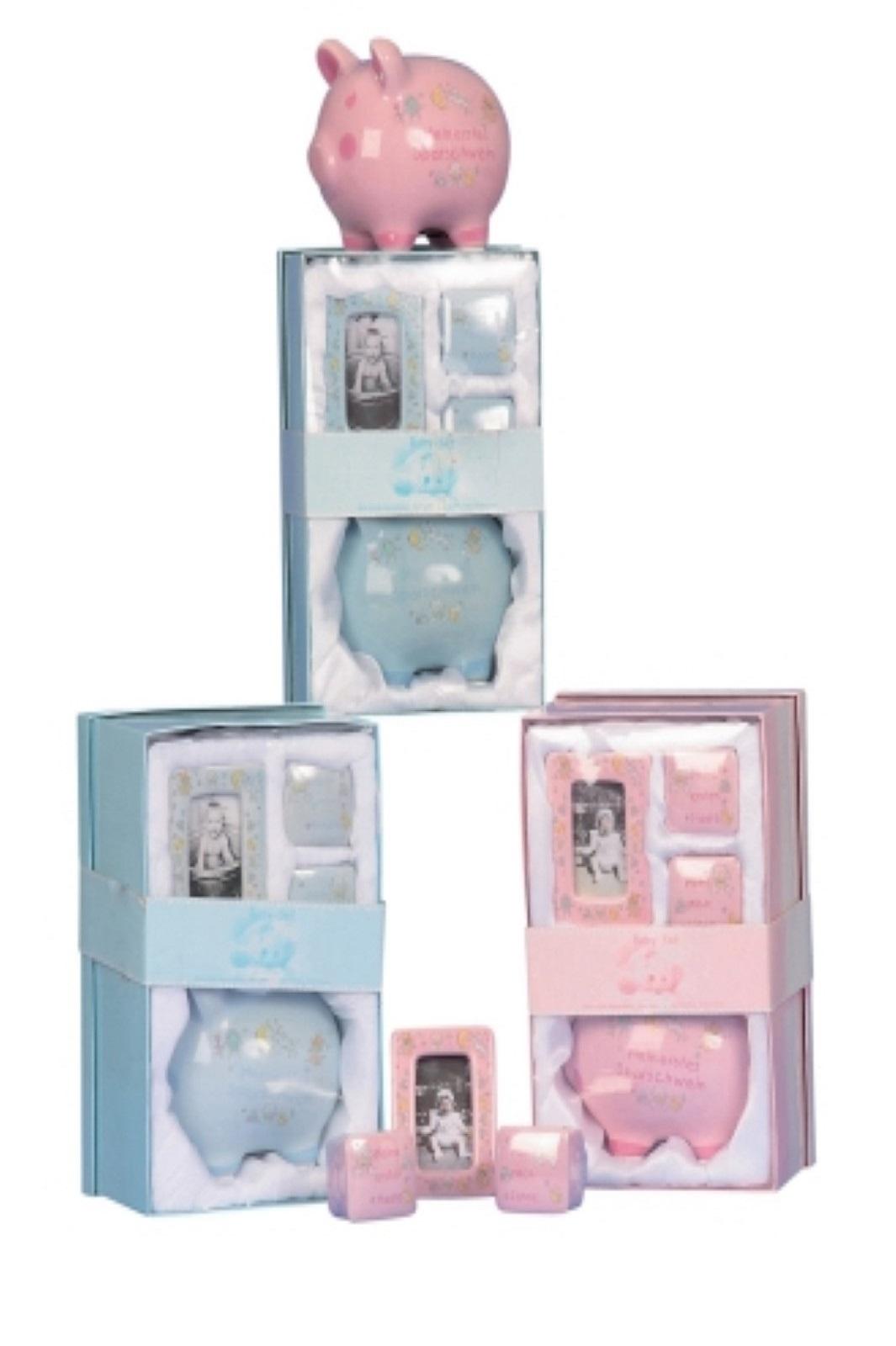 Baby-Set 27x17cm Sparschwein, Fotorahmen+2 Dosen Blau o. Rosa Stückp.