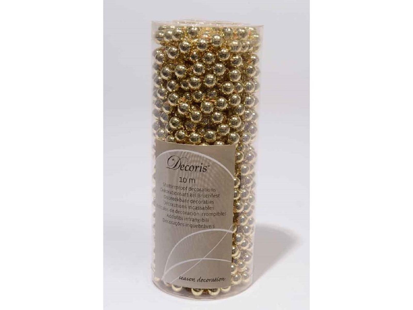 Perlenkette Kusstoffperlenkette Satingold Baumschmuck Baumperlen