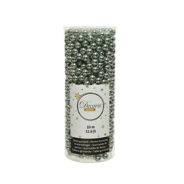 Perlenkette  Kunststoff Kette Perlengirlande Baumschmuck 10 m salbeigrün