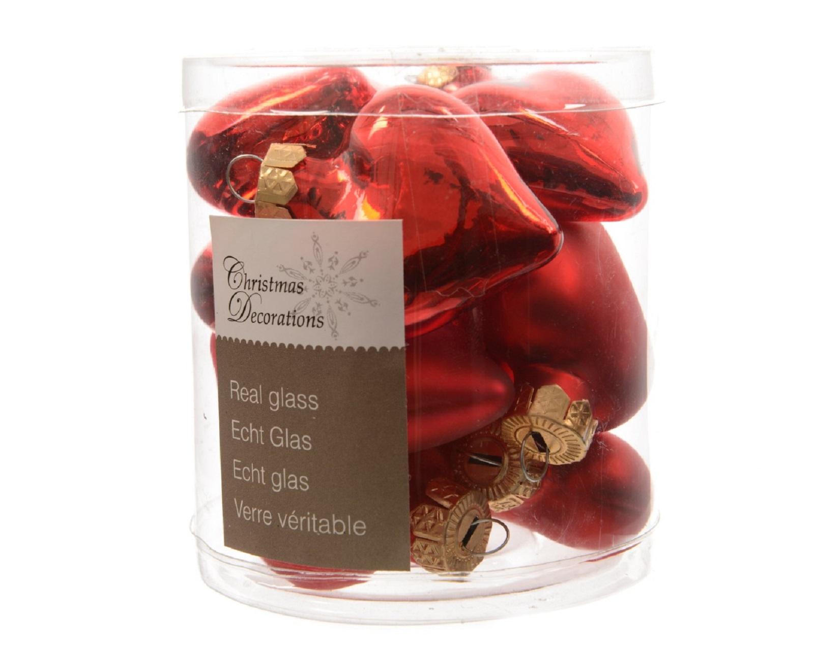 Herzen Glasherzen Baumschmuck Weihnachtskugeln mini Weihnachtsdeko 12 St rot