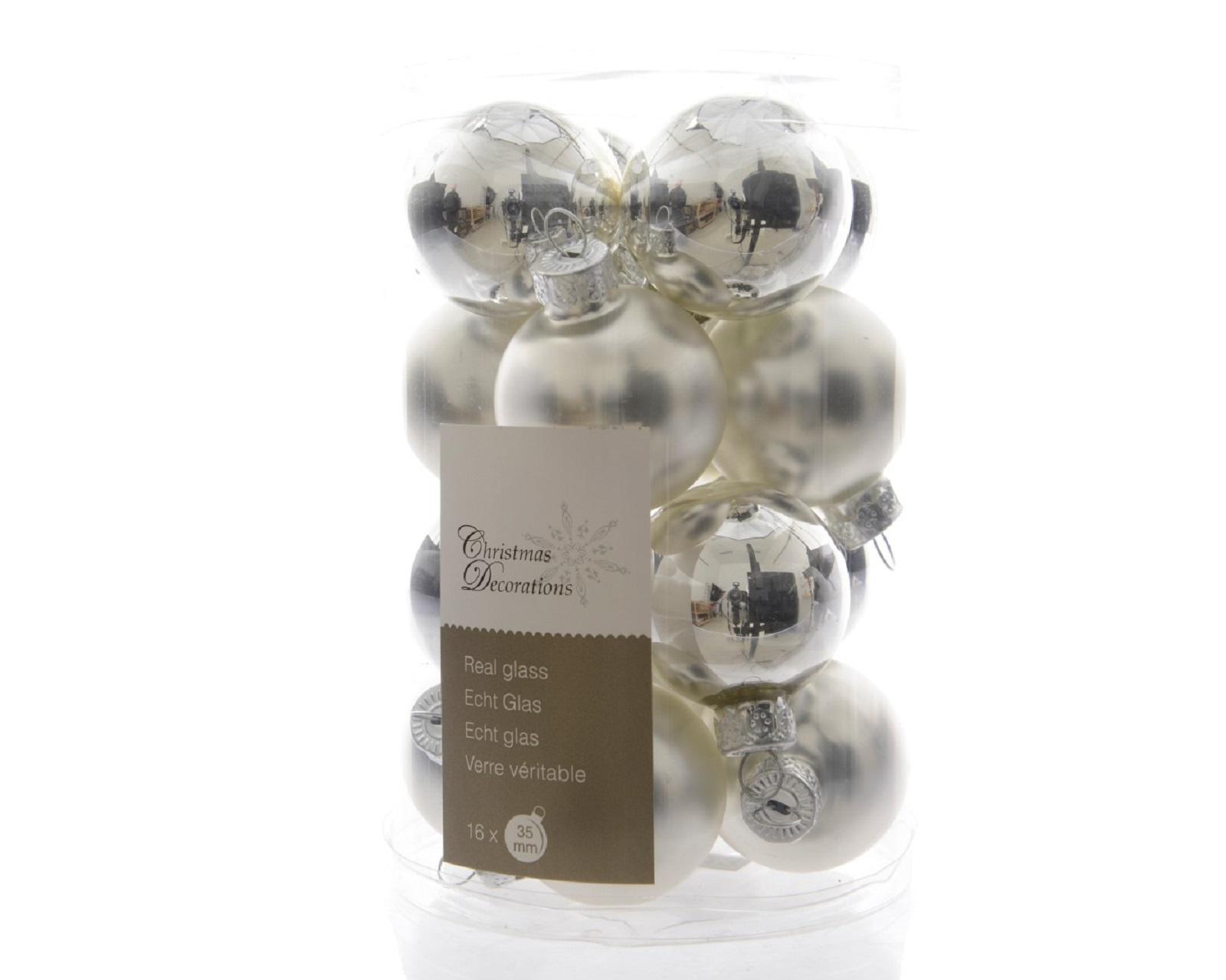 Glaskugeln Baumschmuck Weihnachtskugeln mini Weihnachtsdeko 16 St silber