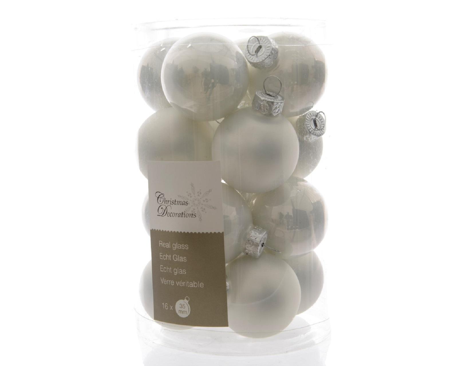 Glaskugeln Baumschmuck Weihnachtskugeln mini Weihnachtsdeko 16 St weiß