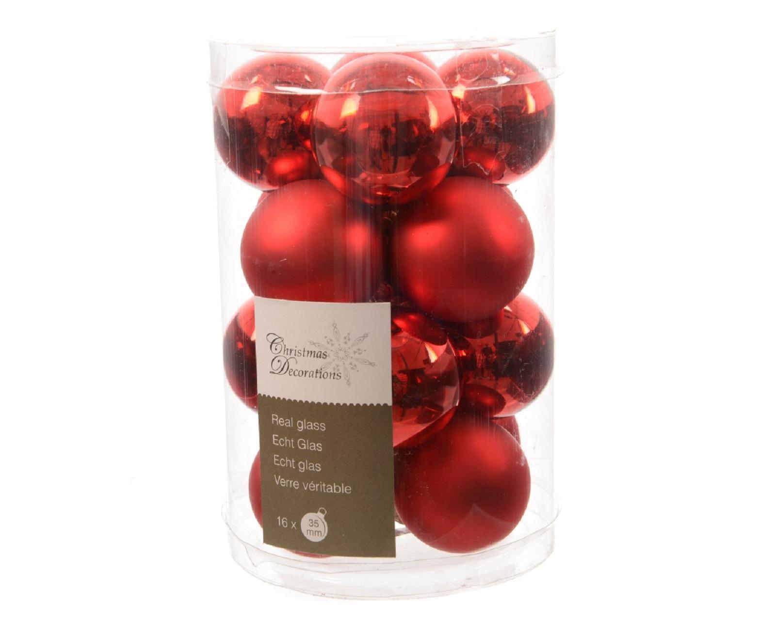 Glaskugeln Baumschmuck Weihnachtskugeln mini Weihnachtsdeko 16 St rot