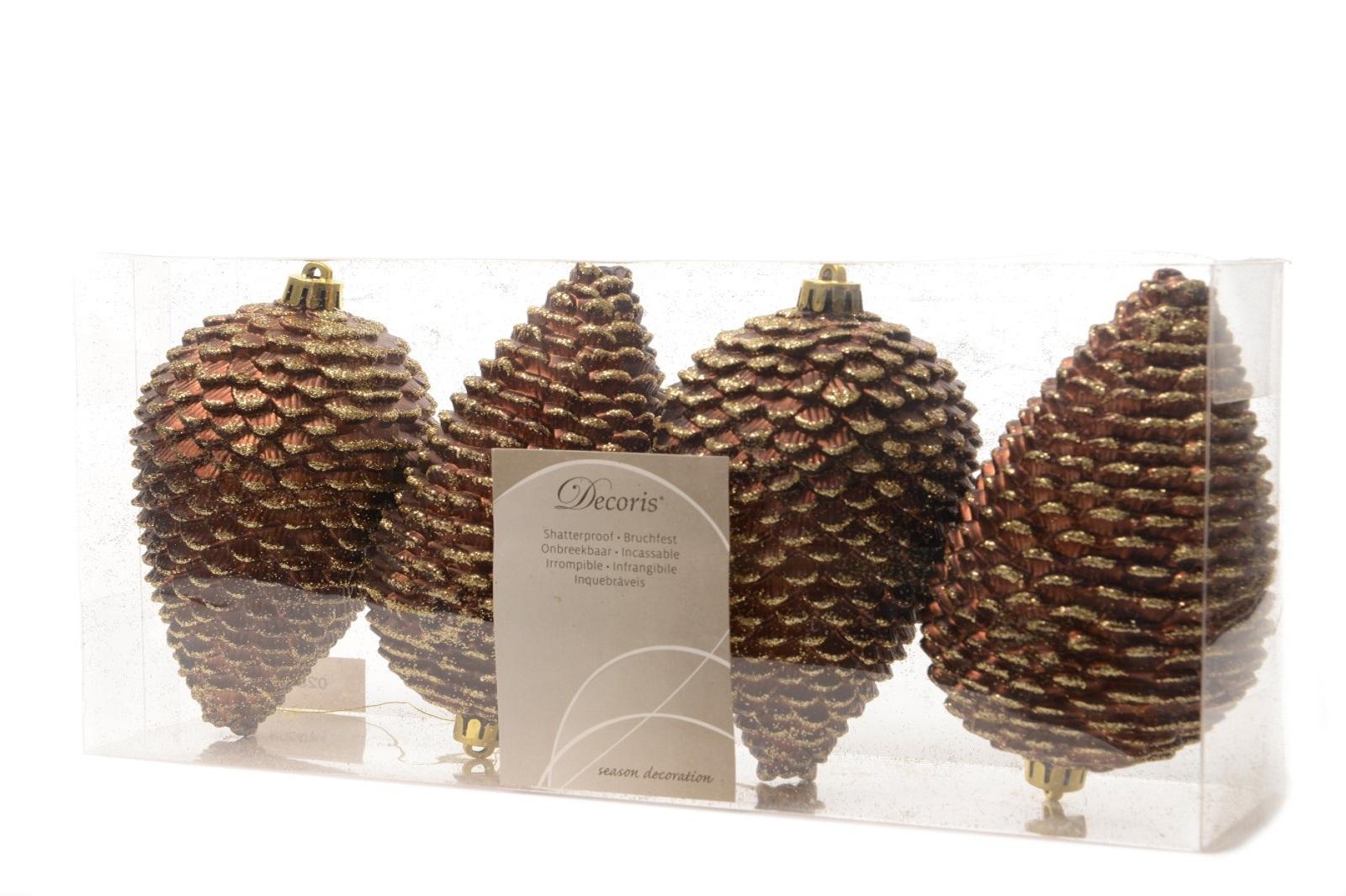 Zapfen Tannenzapfen Weihnachtskugeln bruchfest Christbaumkugeln trüffel 4 tlg