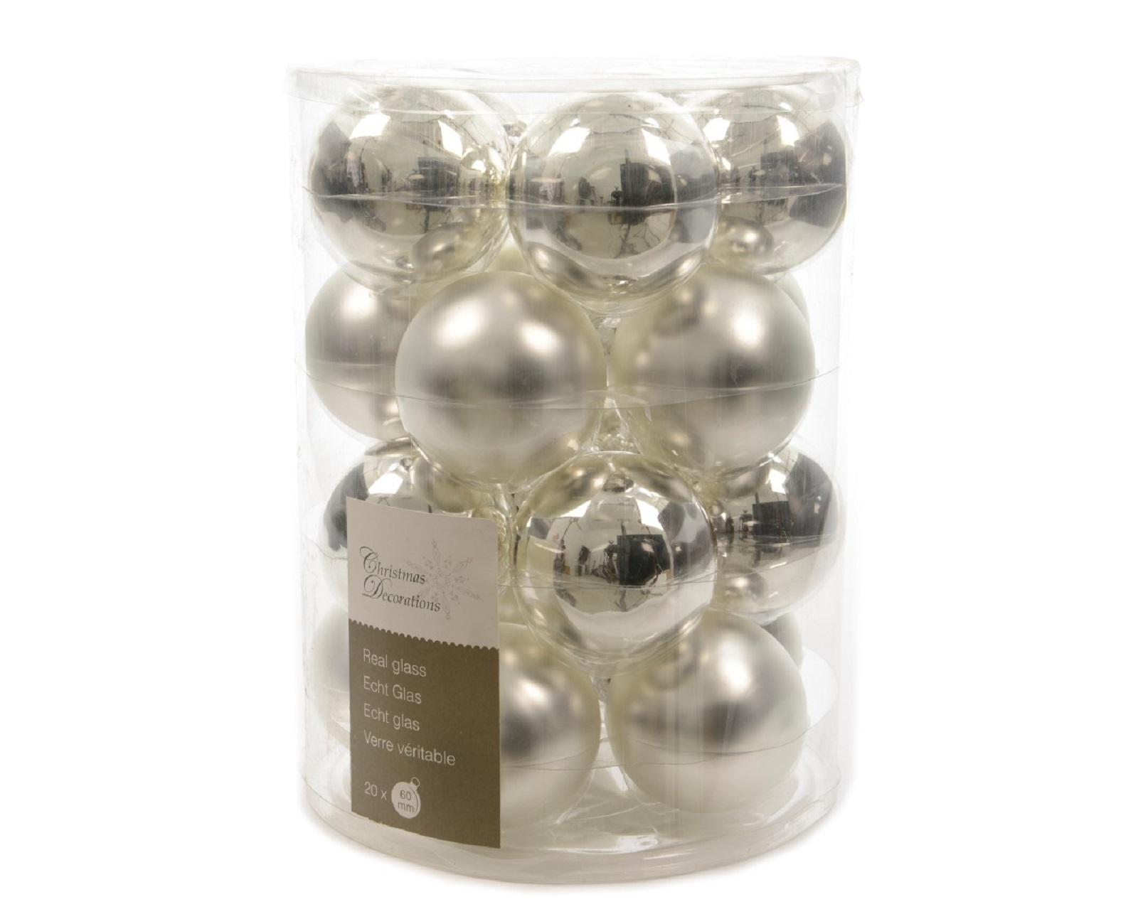 Weihnachtskugeln Christbaumkugeln Glas Baumhänger Glaskugelng silber 60 mm 20tlg
