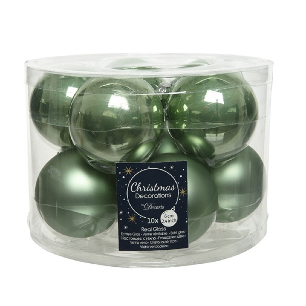 Glaskugeln Weihnachtskugeln Baumschmuck 10 Stück  Ø ca.6 cm emaille/matt grün