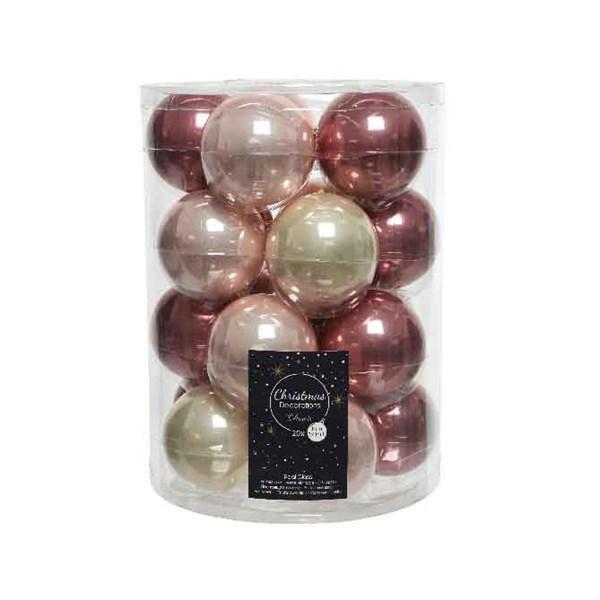 Glaskugeln Weihnachtskugeln Baumschmuck 20 Stück  Ø ca.6 cm pink