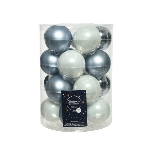 Glaskugeln Weihnachtskugeln Baumschmuck 20 Stück  Ø ca.6 cm blau weiß mix