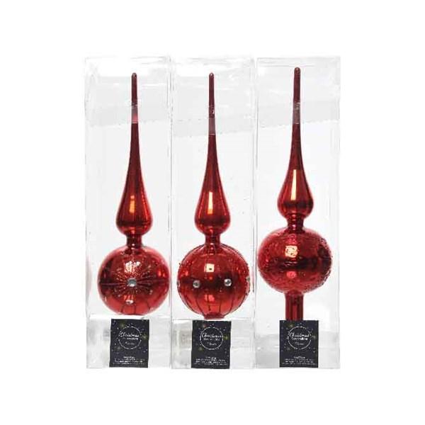 Baumspitze Weihnachtsbaumspitze Christbaum Glas Ø 8x31 cm rot Stückpreis