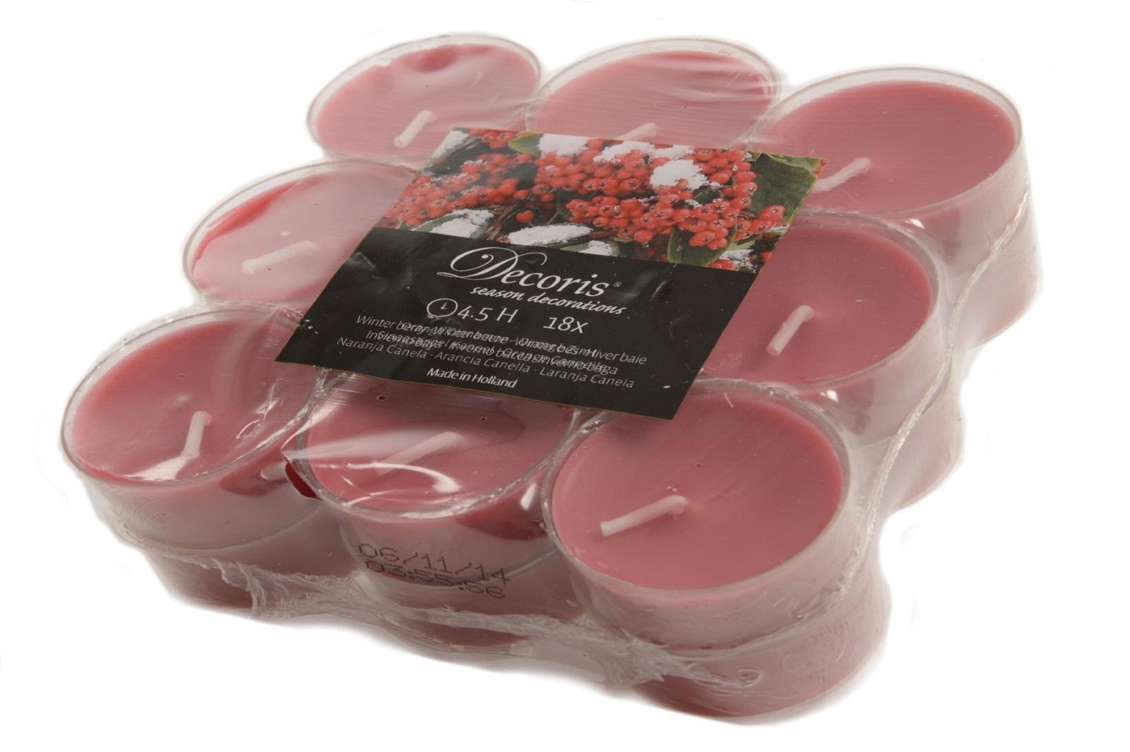 18 Duft-Teelichter Beeren rot mit transparentem Kunststoff-Cup