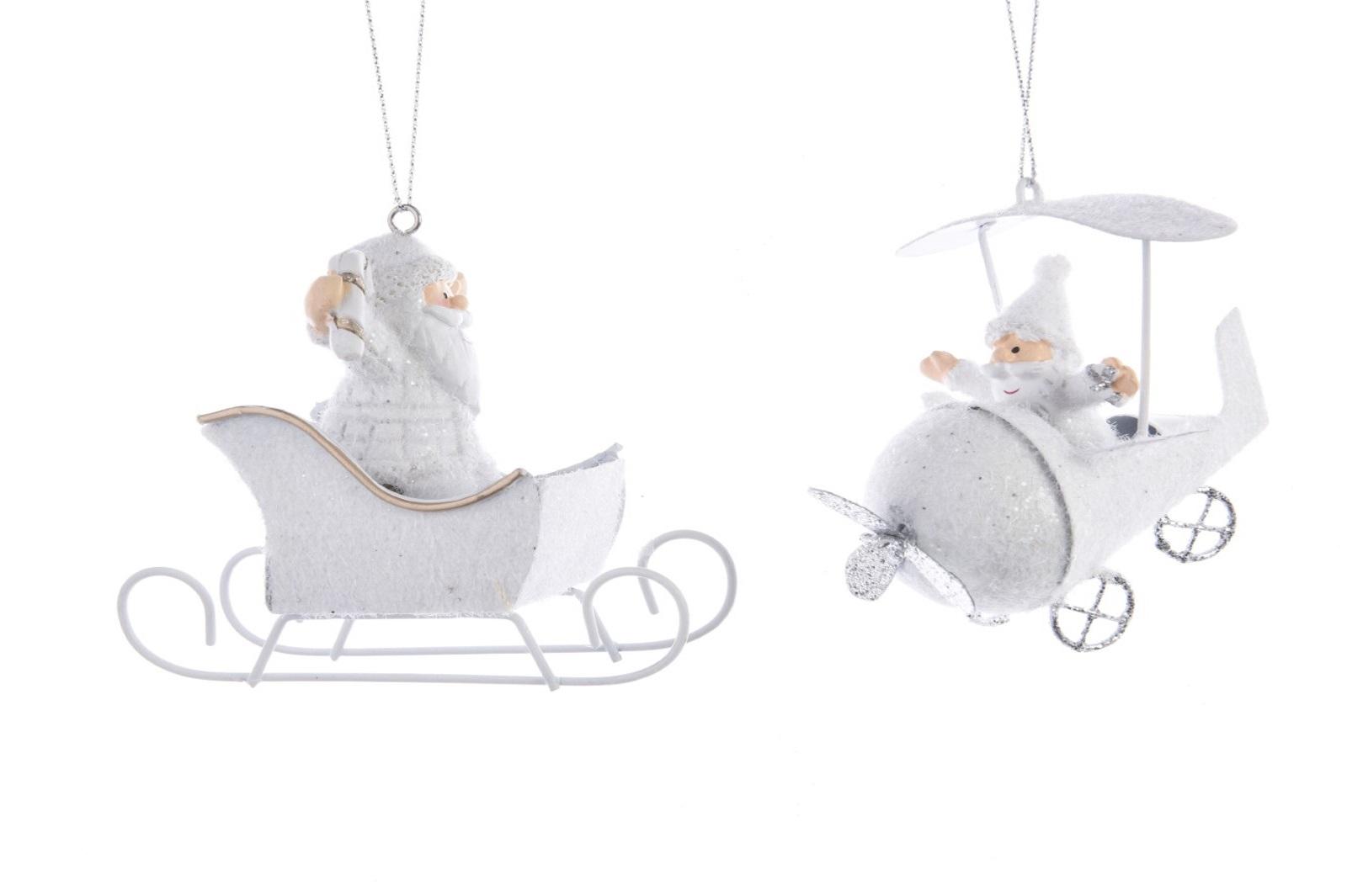 Baumhänger Baumschmuck Santa mit Schlitten und Flugzeug 2er Set