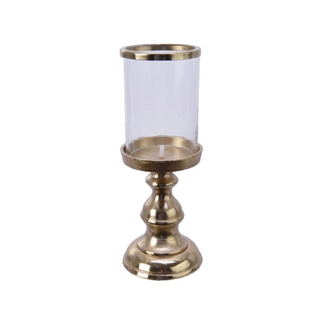 Kerzenhalter Kerzenleuchter Kerzenständer Alu Glas gold Ø 12,5 x 32 cm