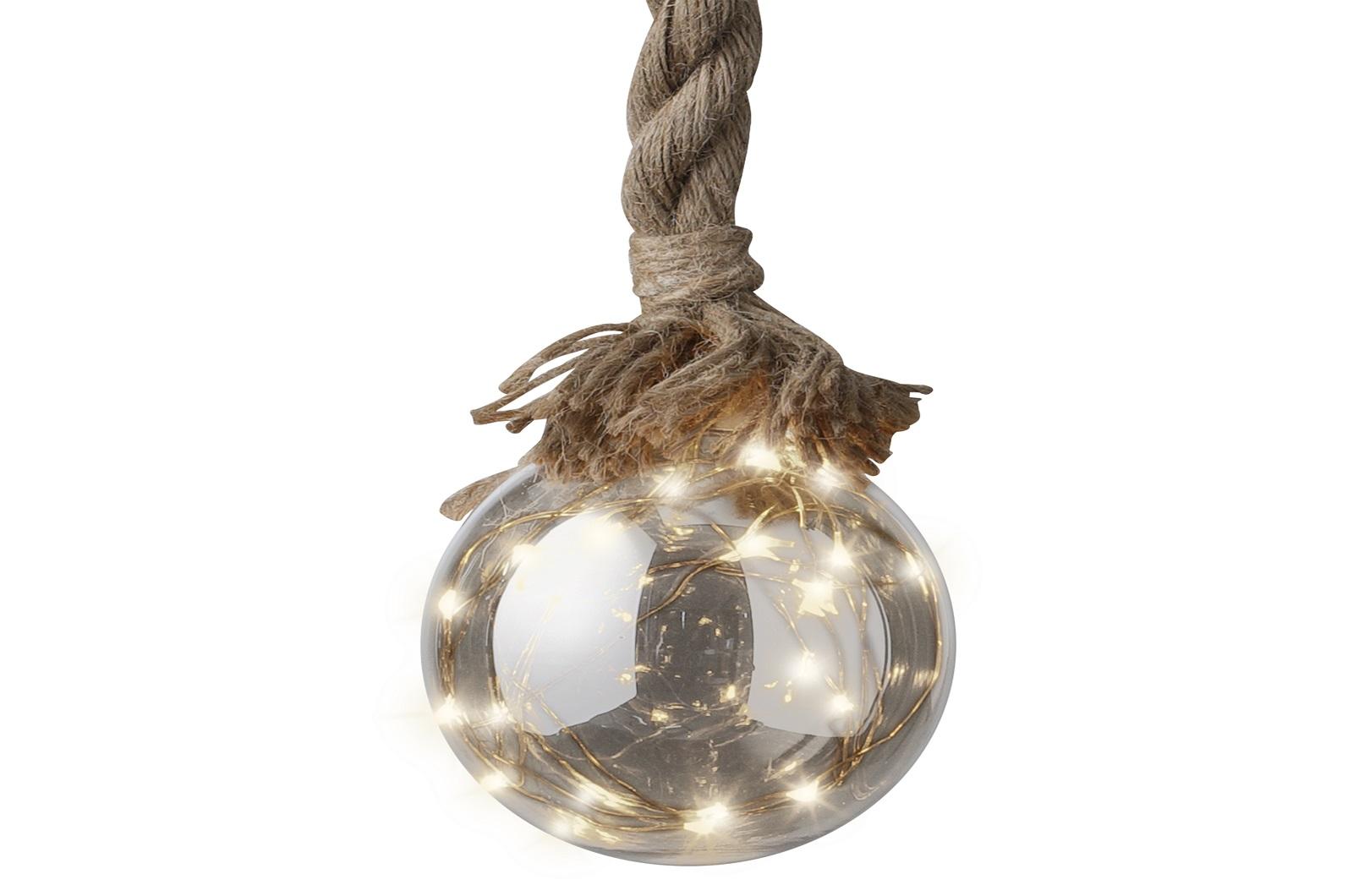 Mico-LED Kugel aus Glas mit Seil  Dekohänger
