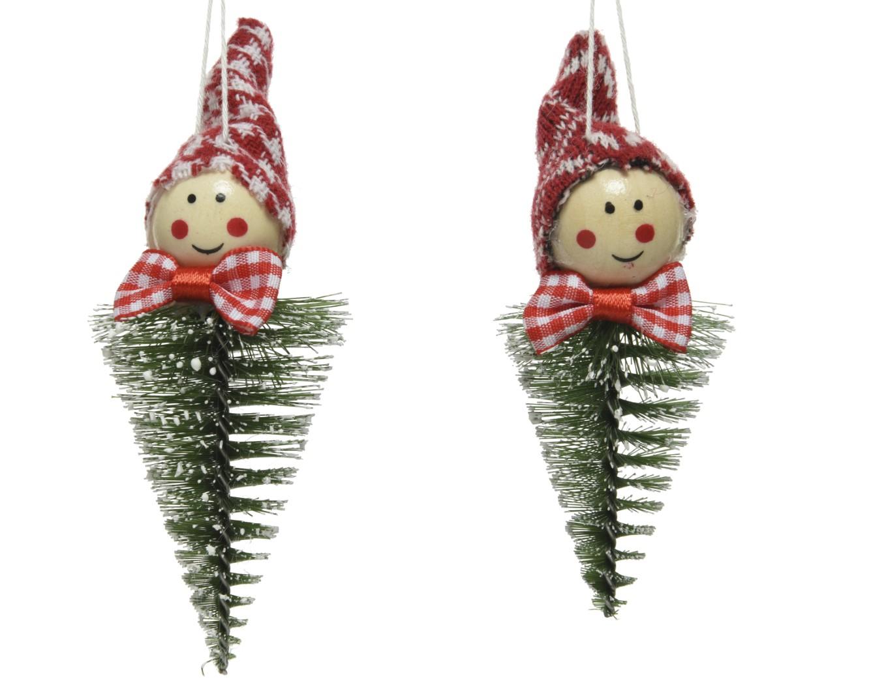 Wichtelhänger Christbaumhänger Weihnachten rot/weiß Kunststoff 2 Stück