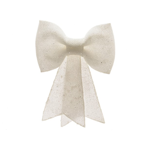 Schleife Hochzeit Dekoration Kunststoff Glitter zum Aufhängen weiß 30 cm
