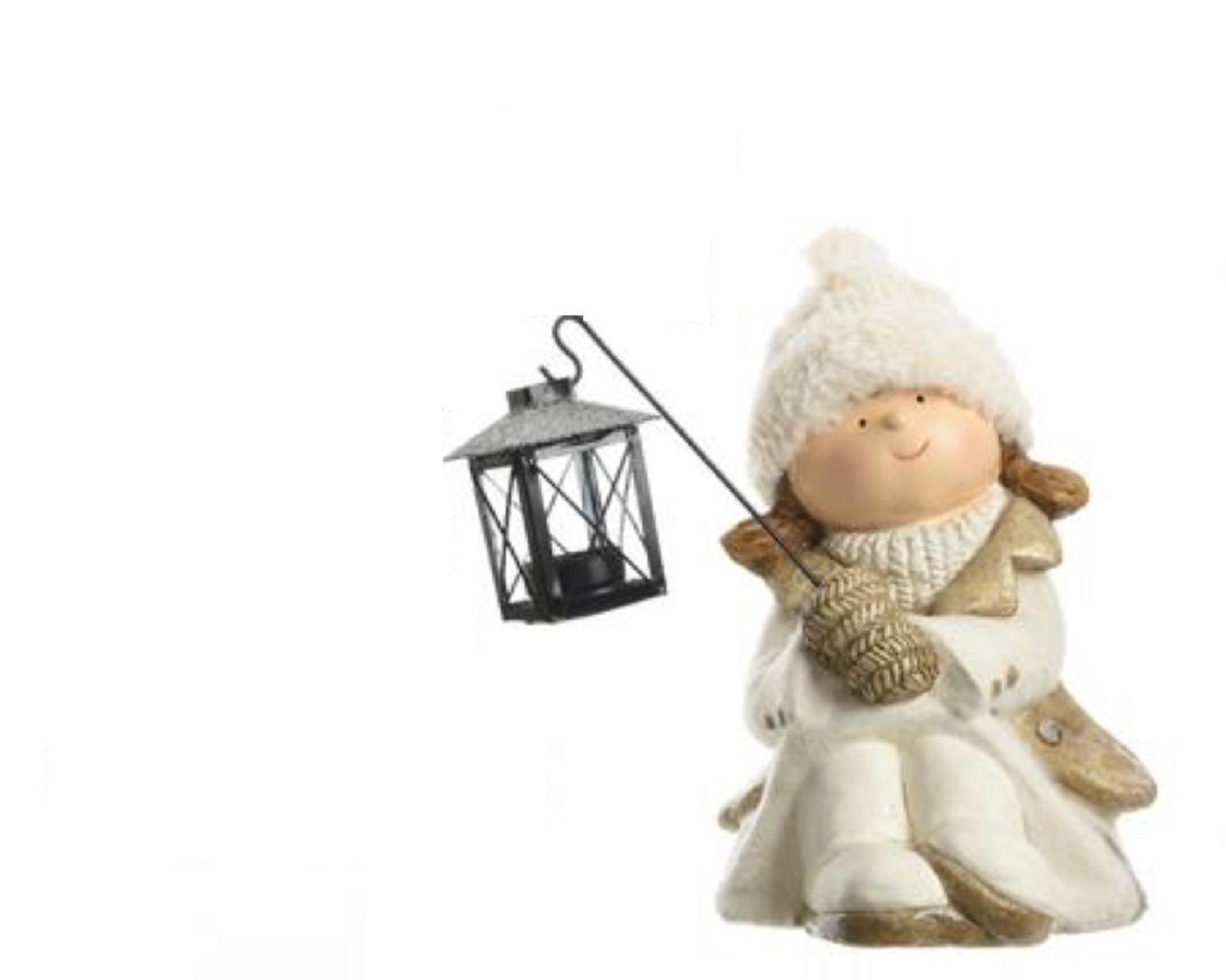 Deko Figur Kinder Winterkinder Polymagnesium Mädchen mit Laterne ca. 26 cm
