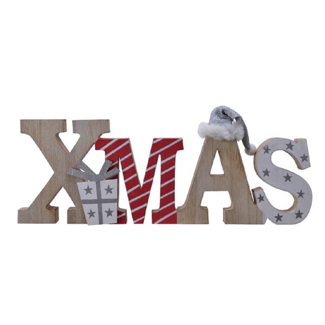 Holzaufsteller Winterdeko Weihnachten Schriftzug Christmas Holz rot weiß L 34 cm