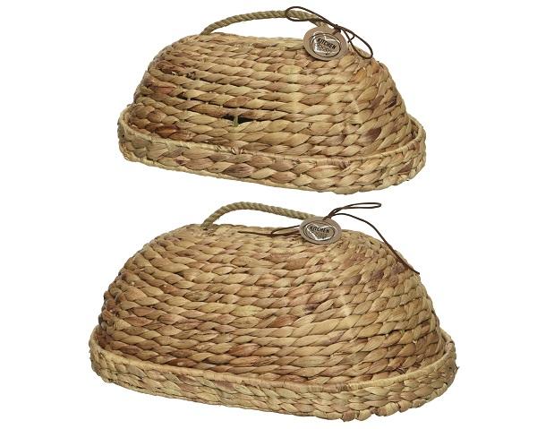 Abdeckhaube Fliegenhaube Picknickkorb Zeltkorb Schutz Insekten Speisen Obst Gemüse Wasserhyazinthe Höhe 18 cm 2er Set