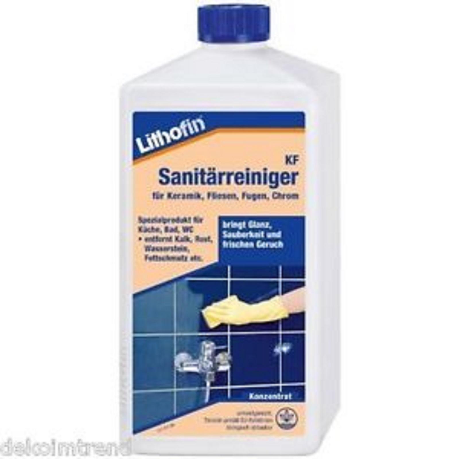 Lithofin KF Sanitärreiniger, Reiniger für Keramik Chrom Fliesen Glas Kunststoff