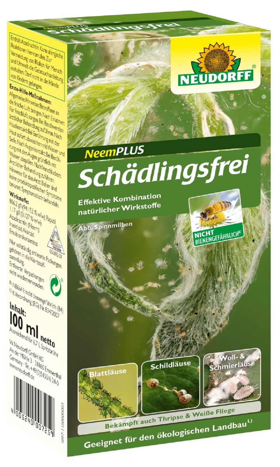 Neem Plus Schädlingsfrei ND 100 ml  Schädlingsbekämpfung Blattläuse Schildläuse