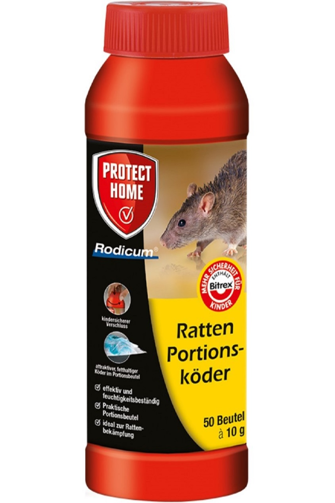 Protect Home Rodicum Ratten Portionsköder Rattengift 500 g
