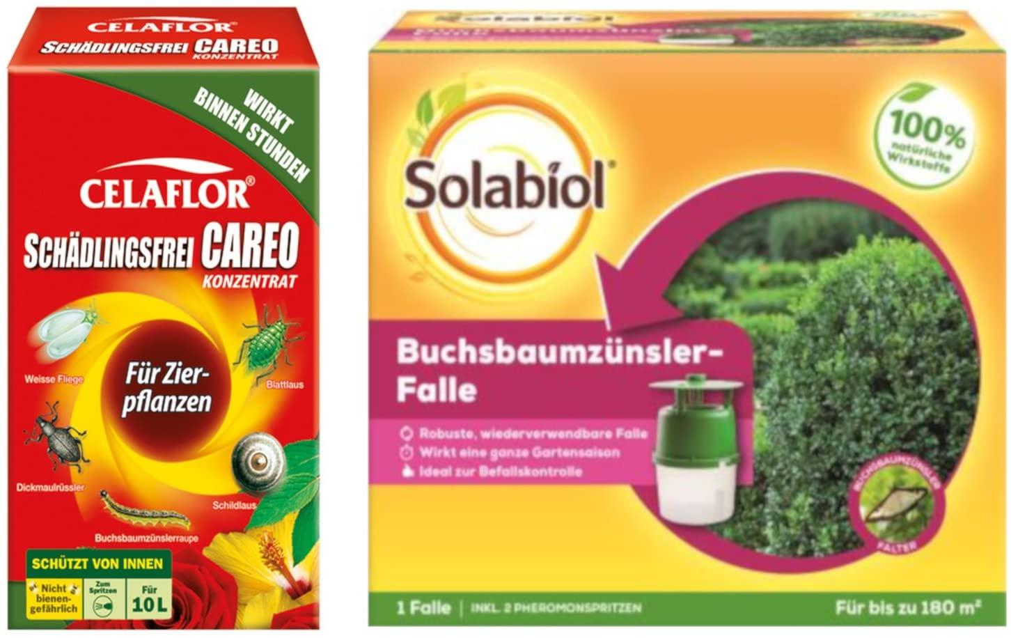 Solabiol Buchsbaumzünslerfalle 1 Stück + Celaflor Schädlingsfrei CAREO Konzentrat Zierpflanzen 100 ml