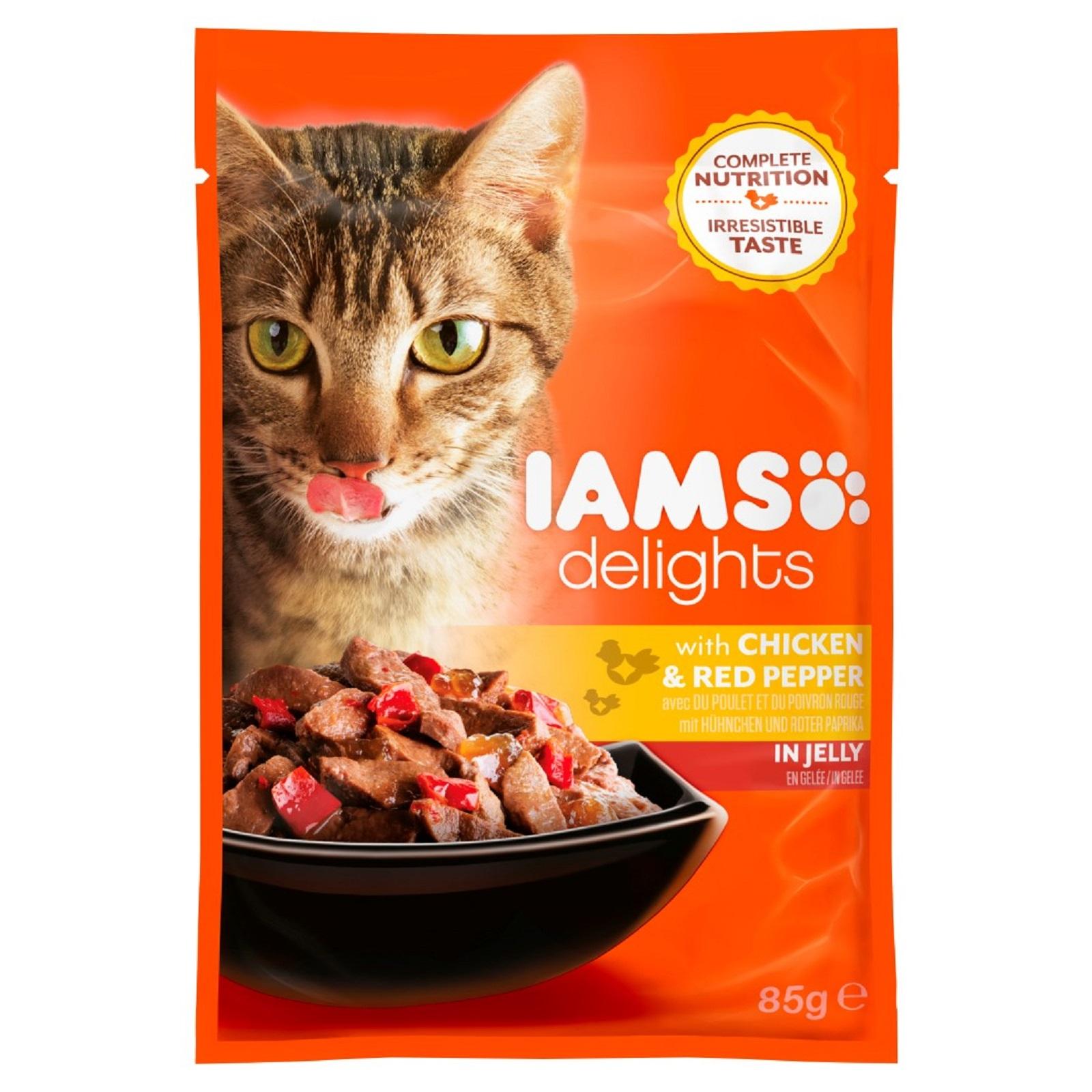 IAMS Delights Katzenfutter Huhn & Paprika Gelee Nassfutter  85 g