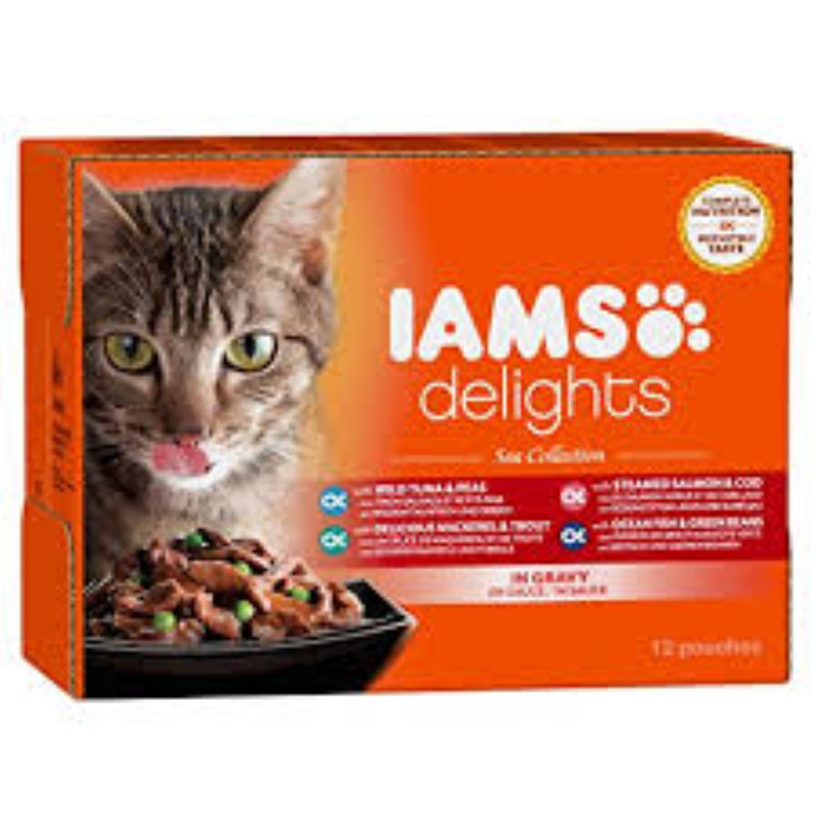IAMS Delights Katzenfutter Erwachsen  Makrele & Bohnen Gelee Nassfutter  85 g