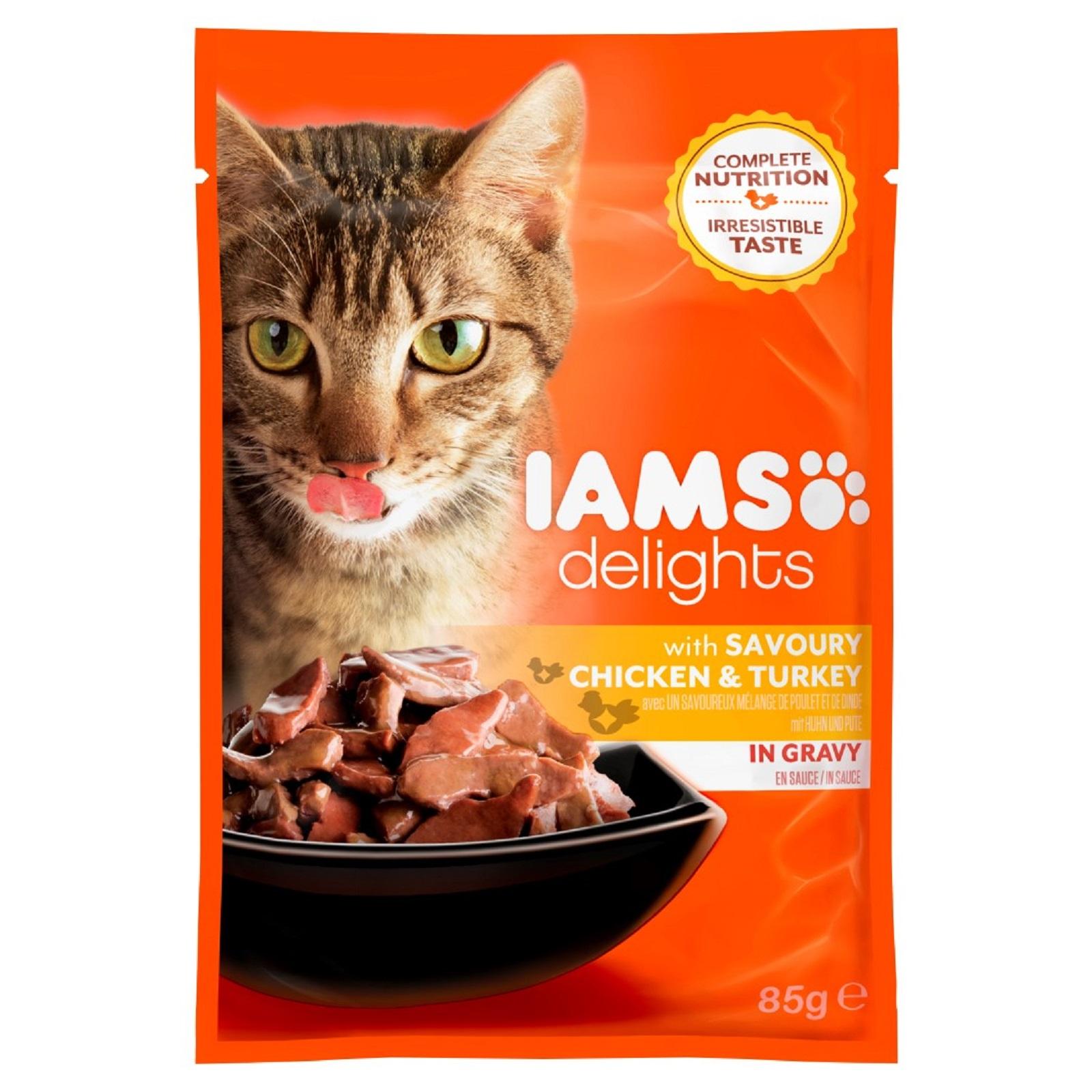 IAMS Delights Katzenfutter Erwachsen Huhn & Truthahn in Sauce Nassfutter  85 g