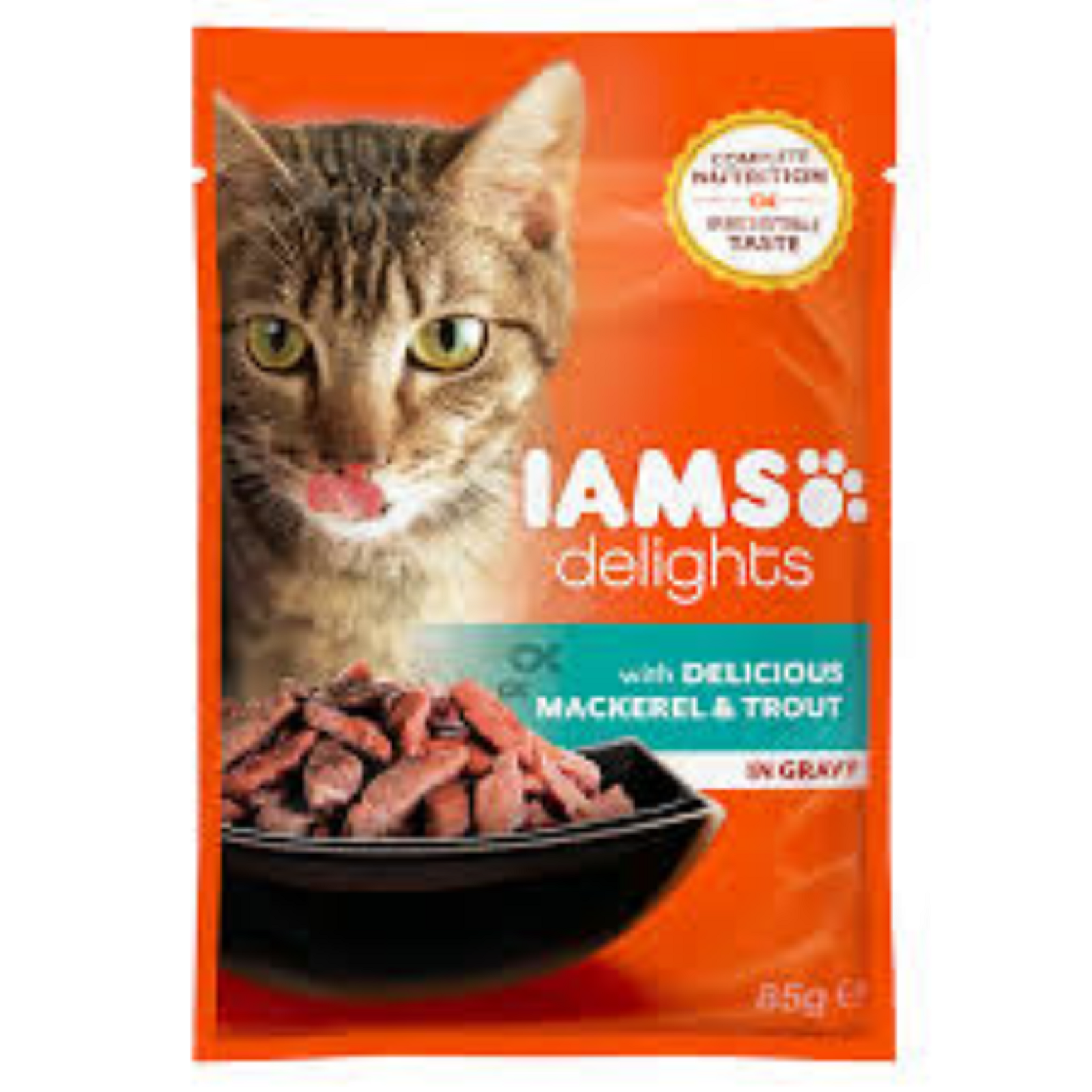 IAMS Delights Katzenfutter Erwachsen  Lachs & Kabeljau Sauce Nassfutter  85 g