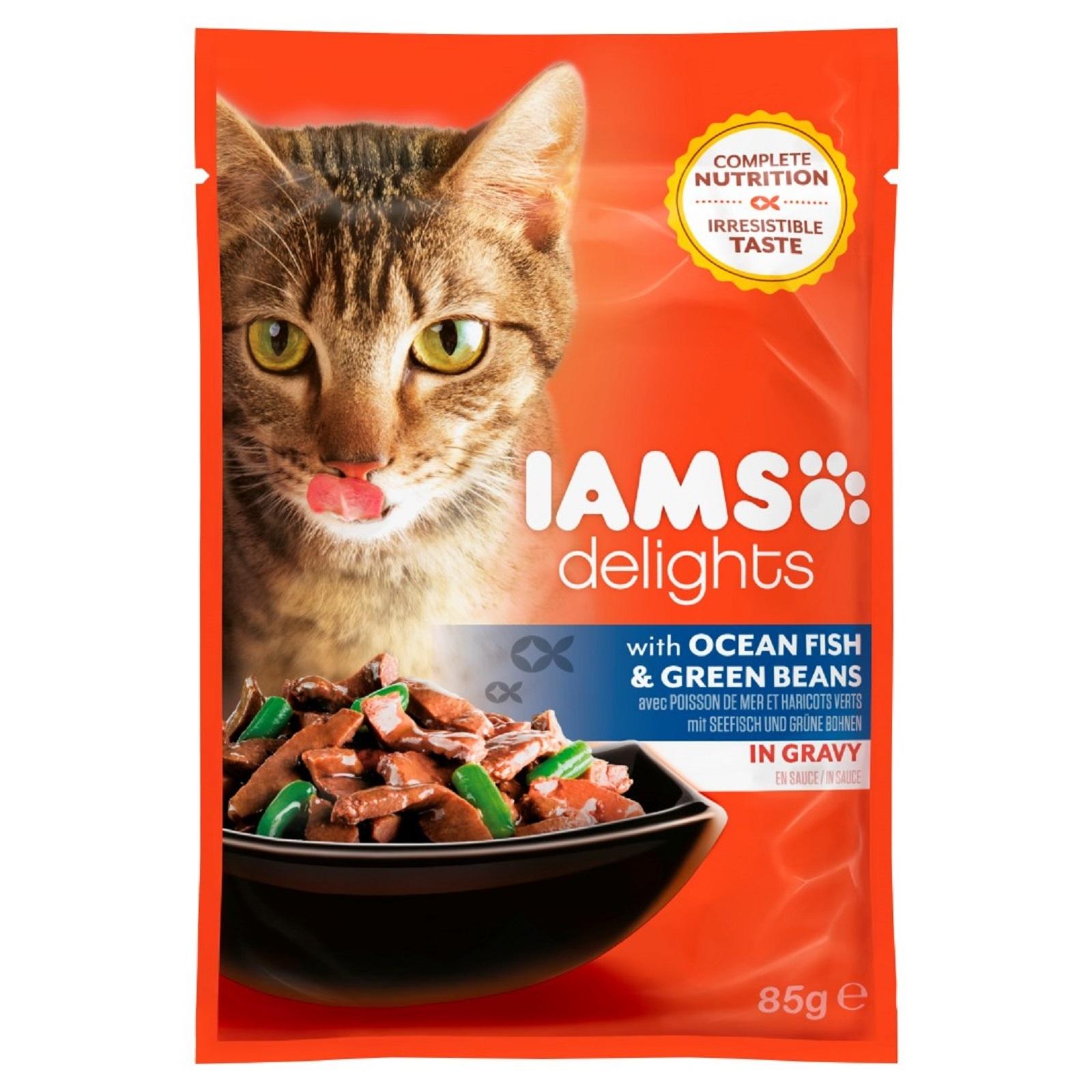 IAMS Delights Katzenfutter Erwachsen Fisch & Bohnen Sauce  Nassfutter  85 g