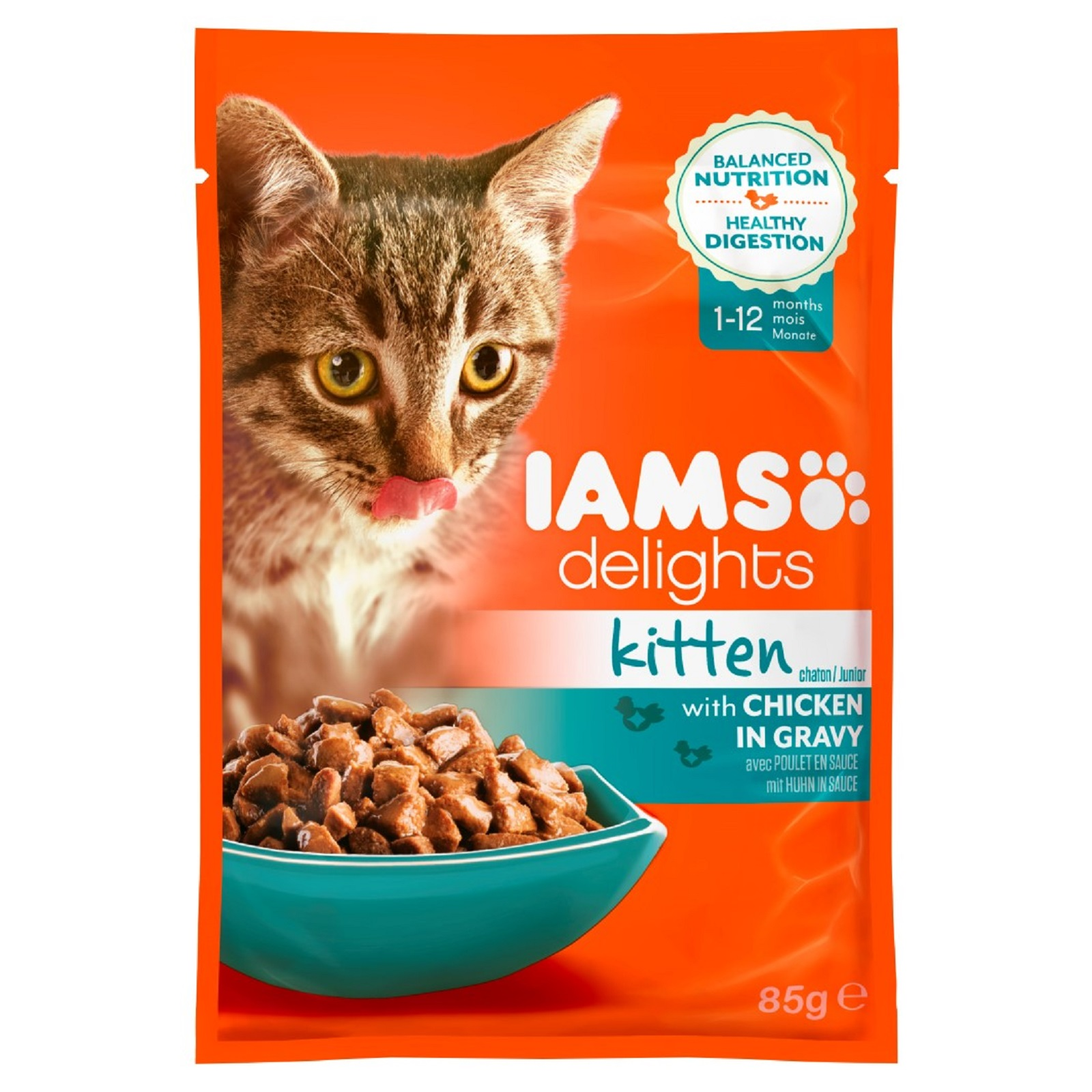 IAMS Delights Katzenfutter  für junge Katzen  Huhn in Sauce Nassfutter  85 g