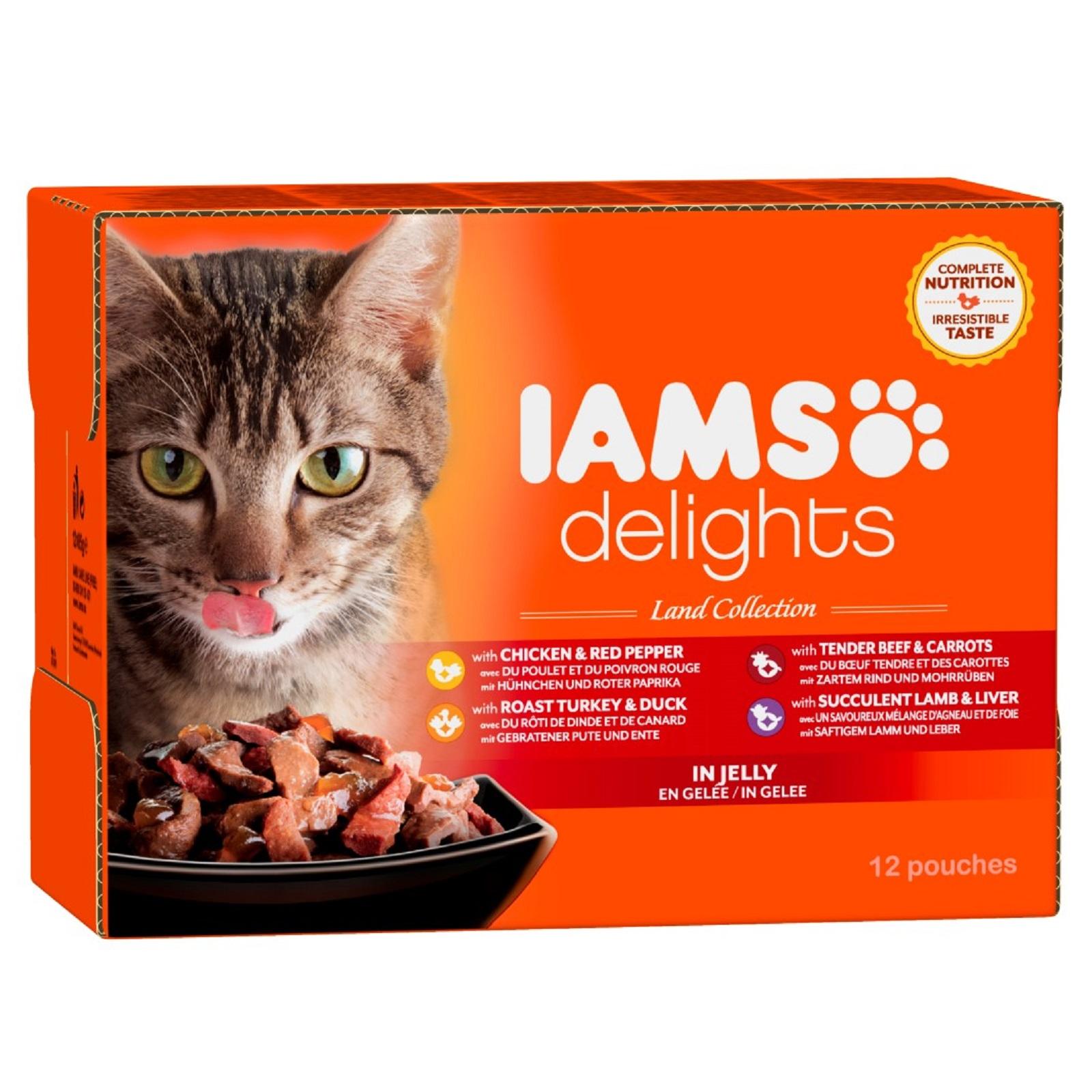 IAMS Delights Katzenfutter  versch. Sorten Fleisch  Gelee Nassfutter 12 x 85 g