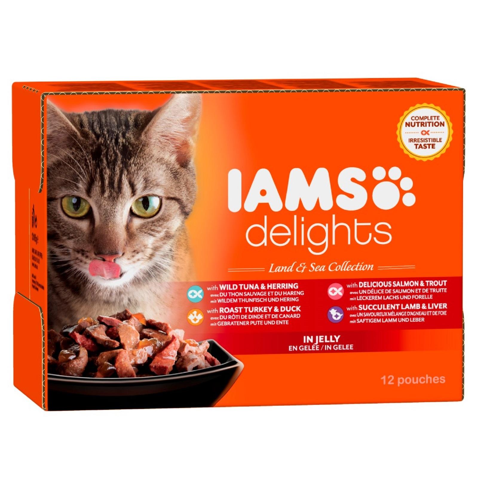 IAMS Delights Katzenfutter Erwachsen Land & See Mix Gelee Nassfutter 12 x 85 g