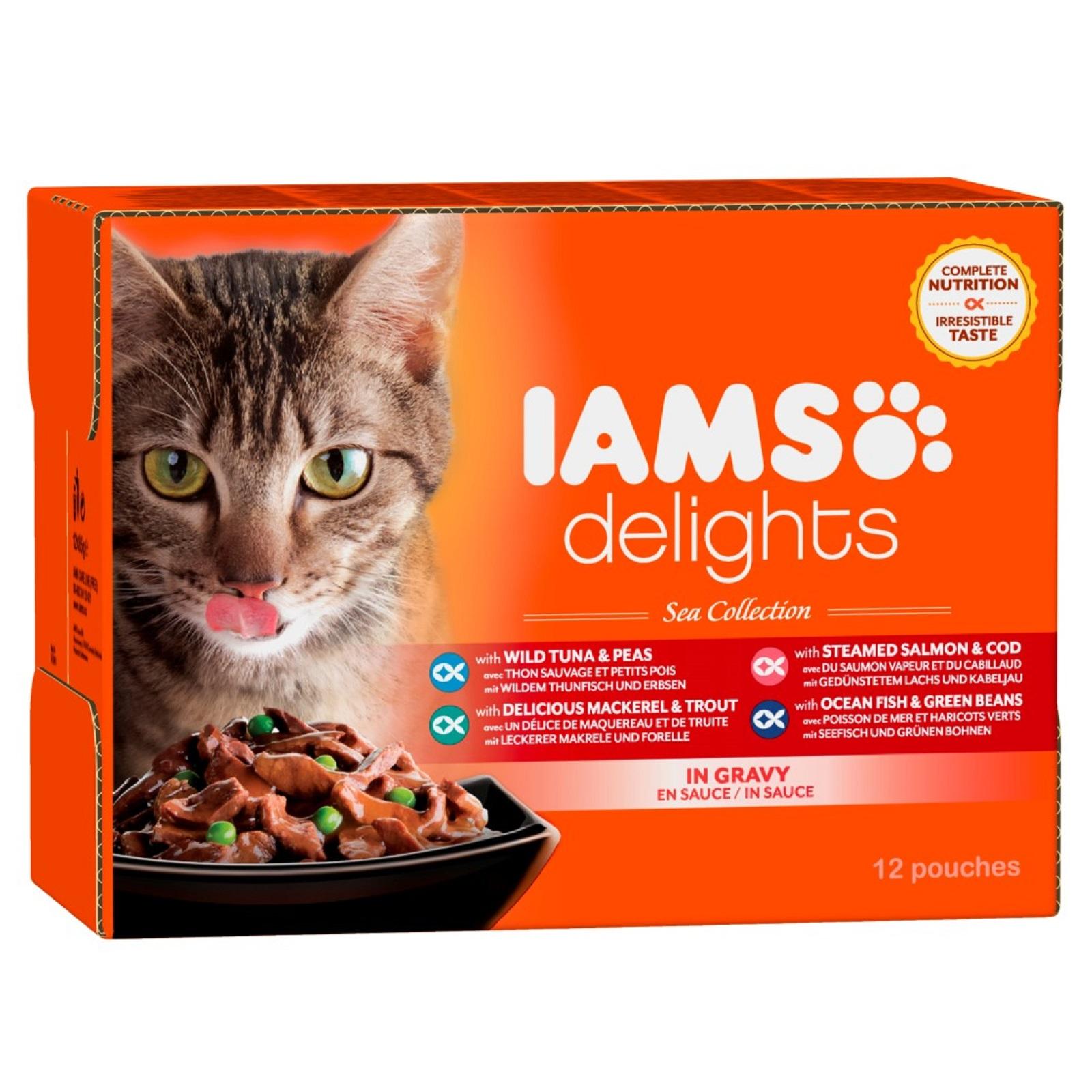 IAMS Delights Katzenfutter  versch. Sorten Fisch  Sauce Nassfutter 12 x 85 g