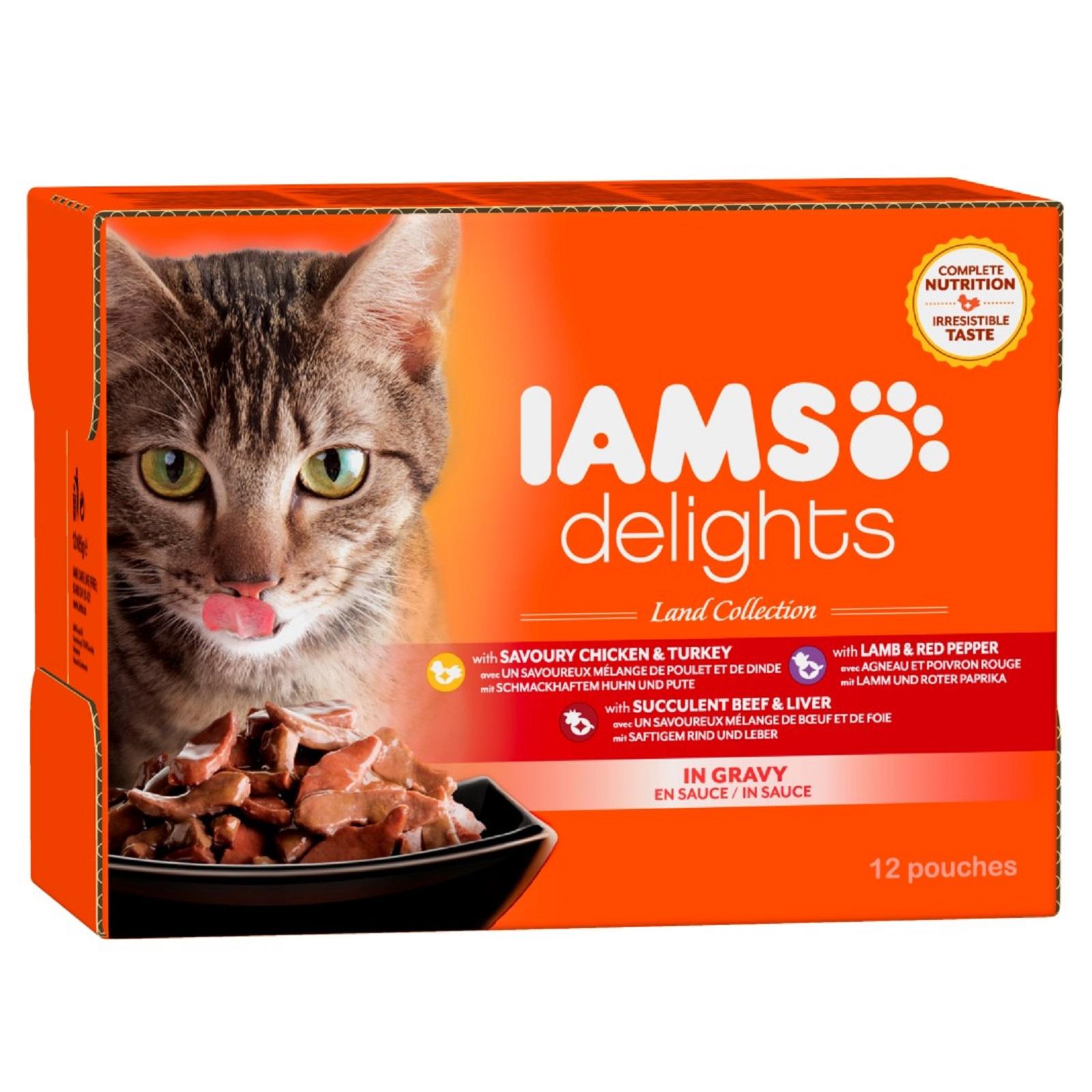 IAMS Delights Katzenfutter Erwachsen Land Mix Sauce Nassfutter 12 x 85 g