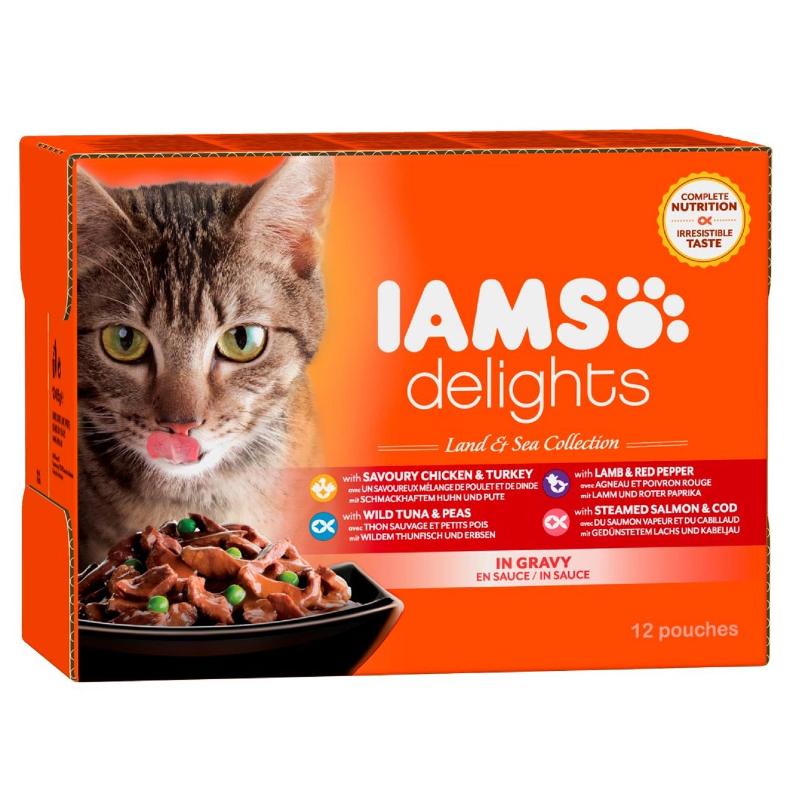 IAMS Delights Katzenfutter Erwachsen Land & See  Mix Sauce Nassfutter 12 x 85 g