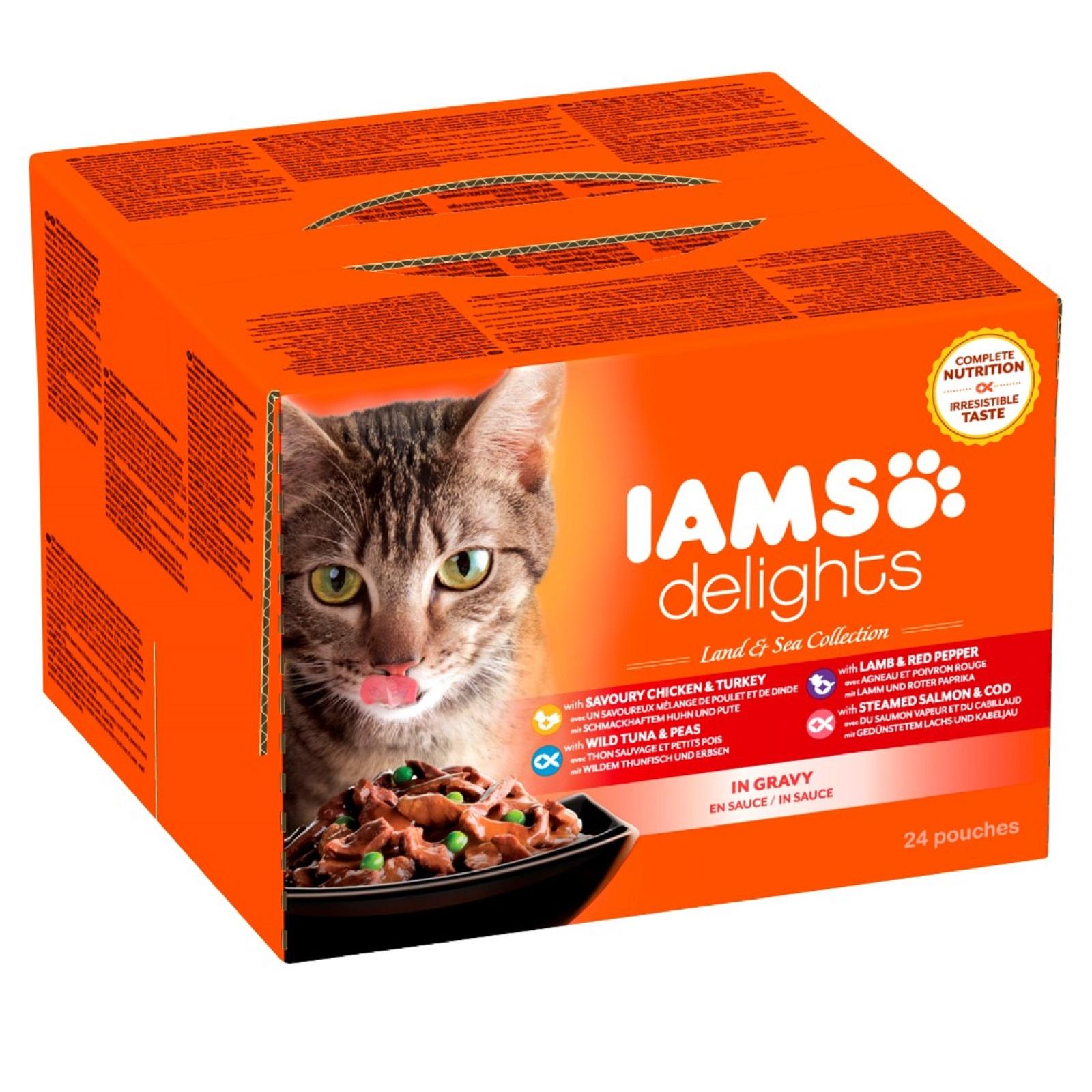 IAMS Delights Katzenfutter Erwachen Nassfutter Land & See Mix in Sauce 24 x 85 g