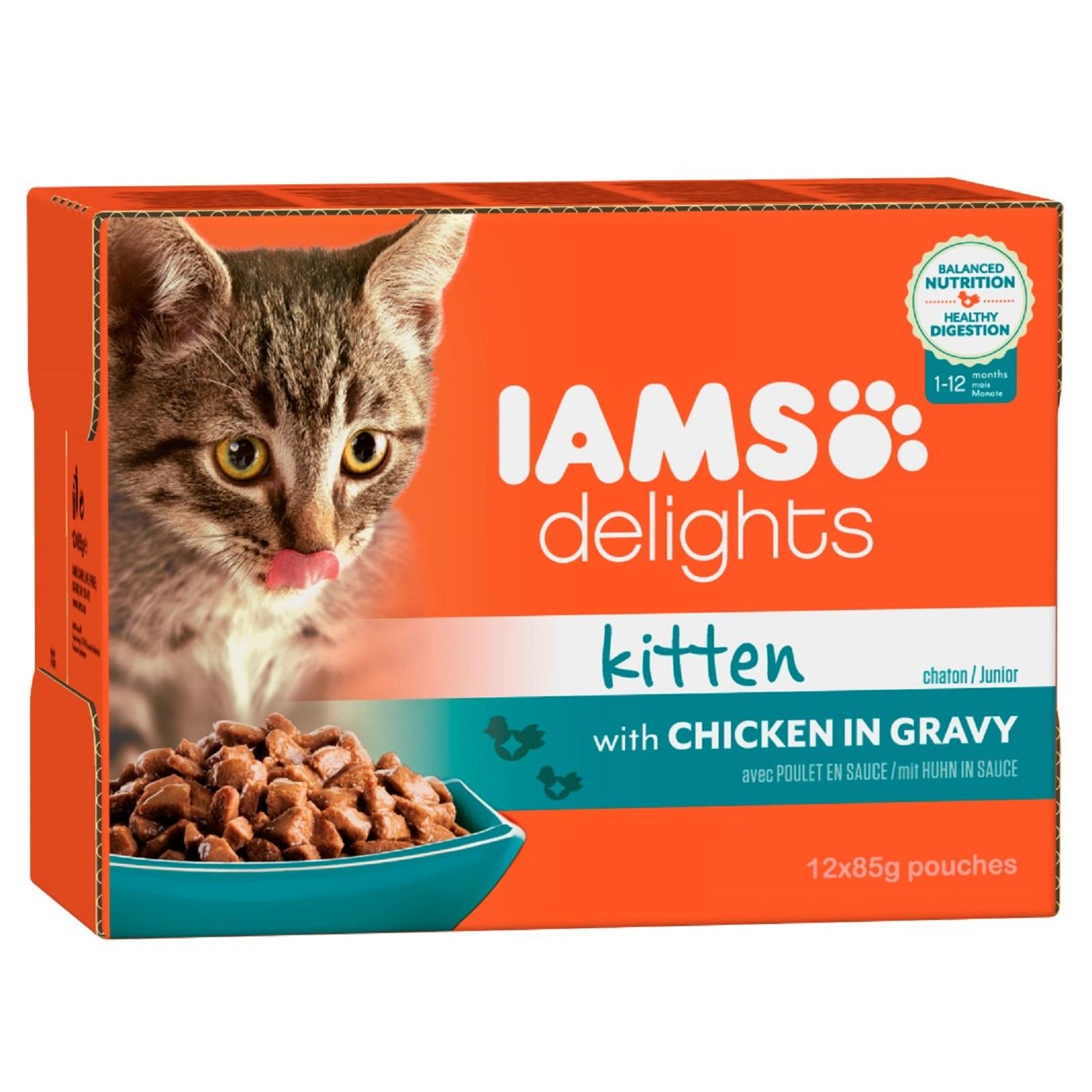 IAMS Delights Katzenfutter Junior Huhn in Sauce Nassfutter  12x 85 g