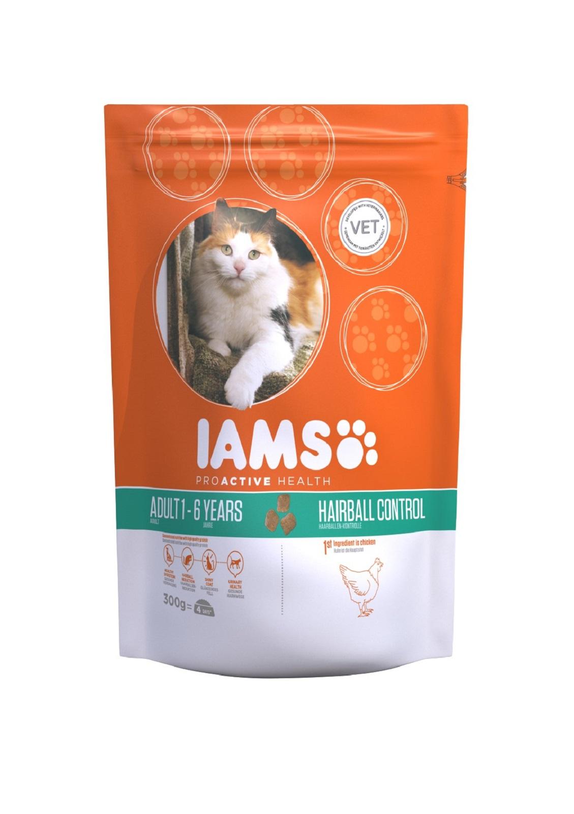 IAMS  Katzenfutter Erwachsen Trockenfutter Huhn Reduzierung von Haarballen 300 g