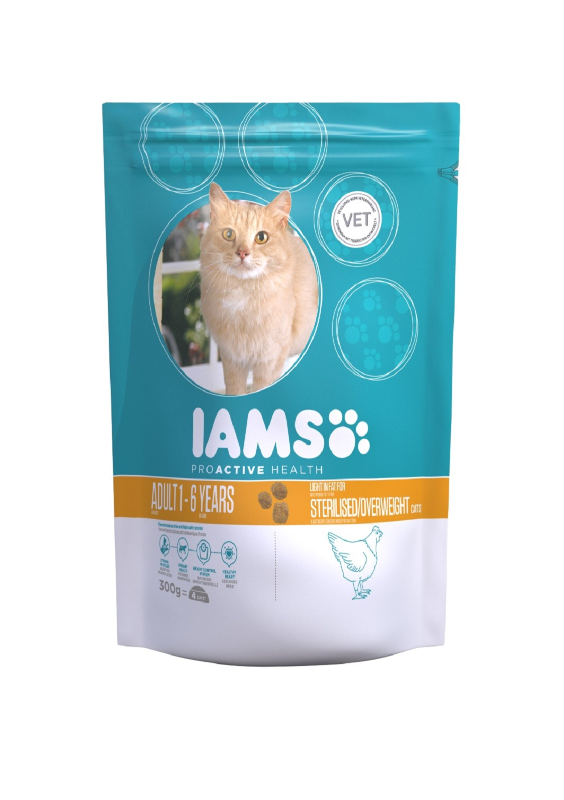 IAMS  Katzenfutter Erwachsen Weight Control fettarmes Trockenfutter Huhn 300 g