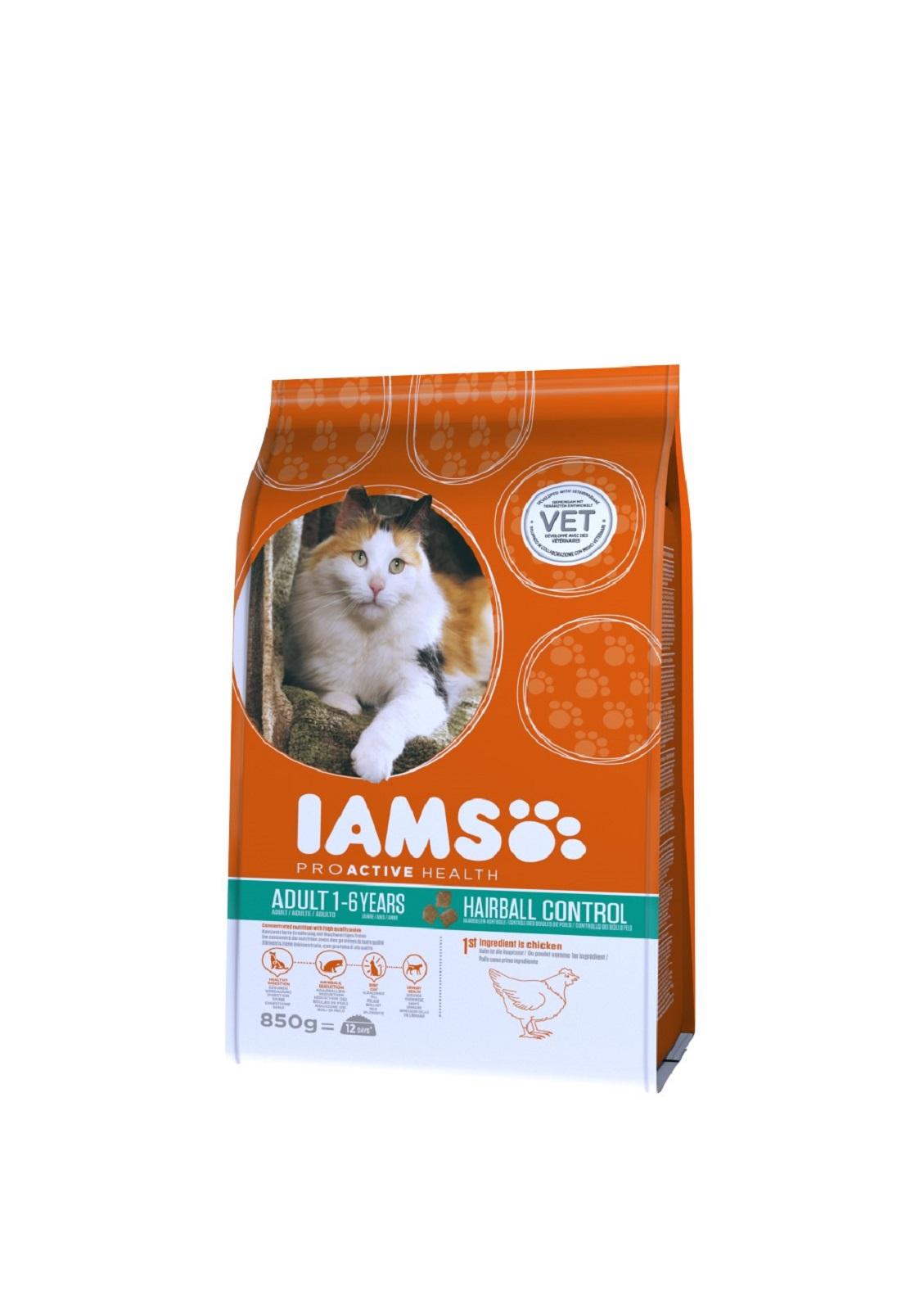 IAMS  Katzenfutter Erwachsen Trockenfutter Huhn Reduzierung von Haarballen 850 g