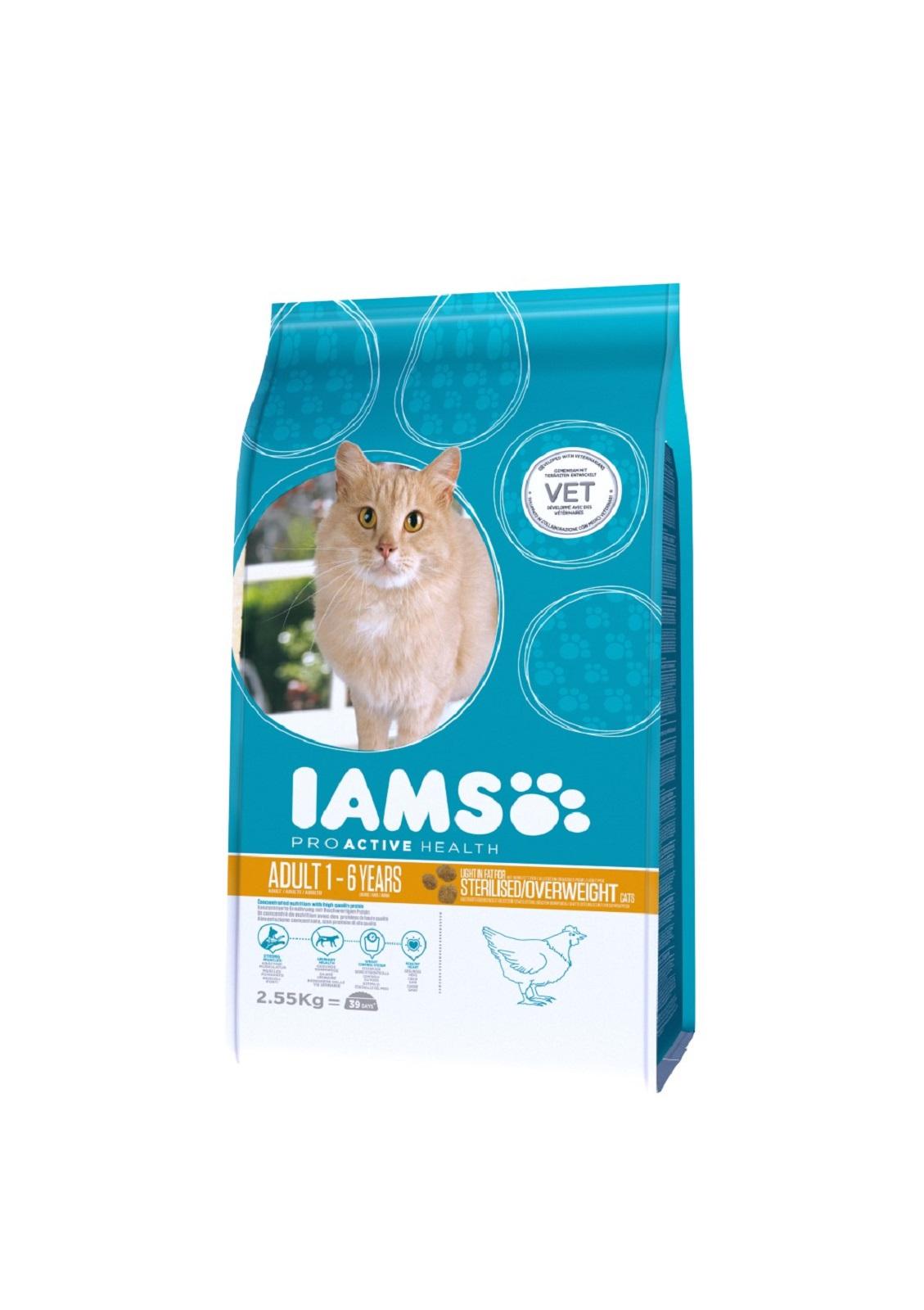 IAMS  Katzenfutter Erwachsen Weight Control fettarmes Trockenfutter Huhn 2,55 kg