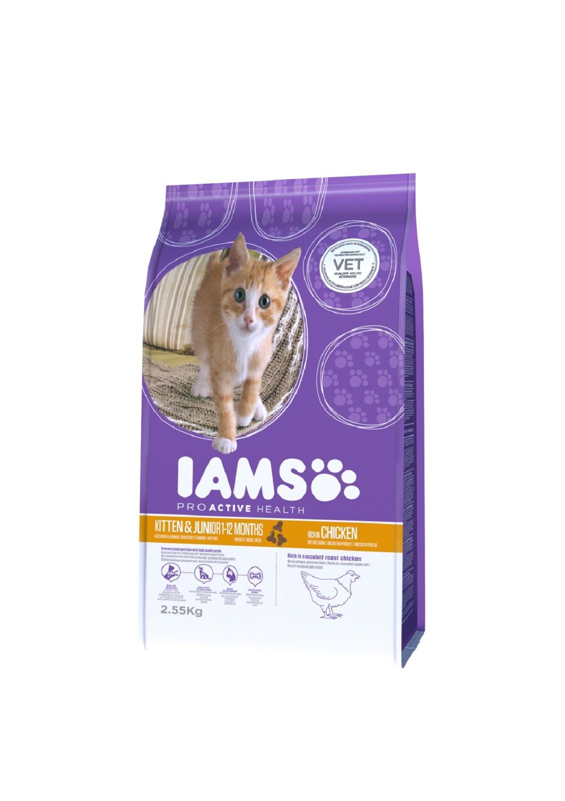 IAMS  Katzenfutter Junior Trockenfutter  Huhn & Pute  2,55 kg