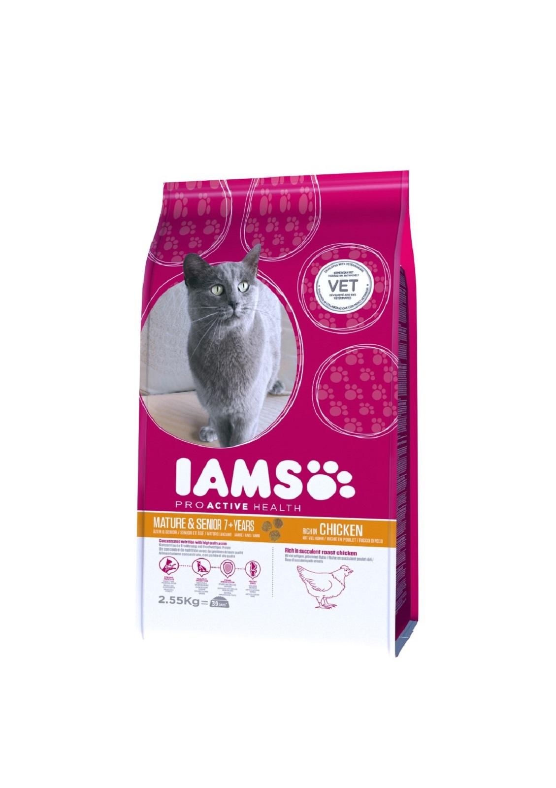IAMS  Katzenfutter Senior Trockenfutter  Huhn 2,55 kg